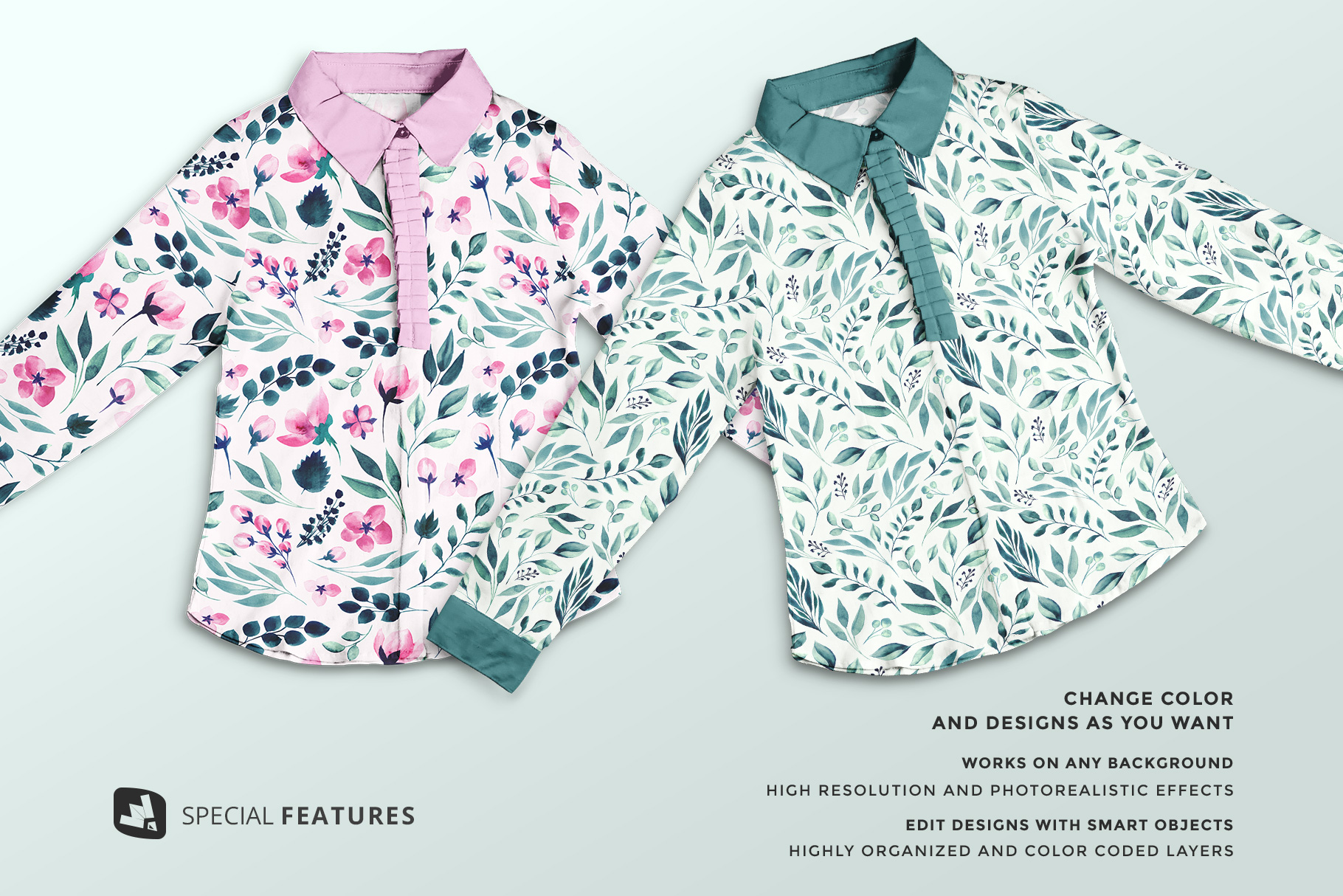 special features of the women's full sleeve blouse mockup