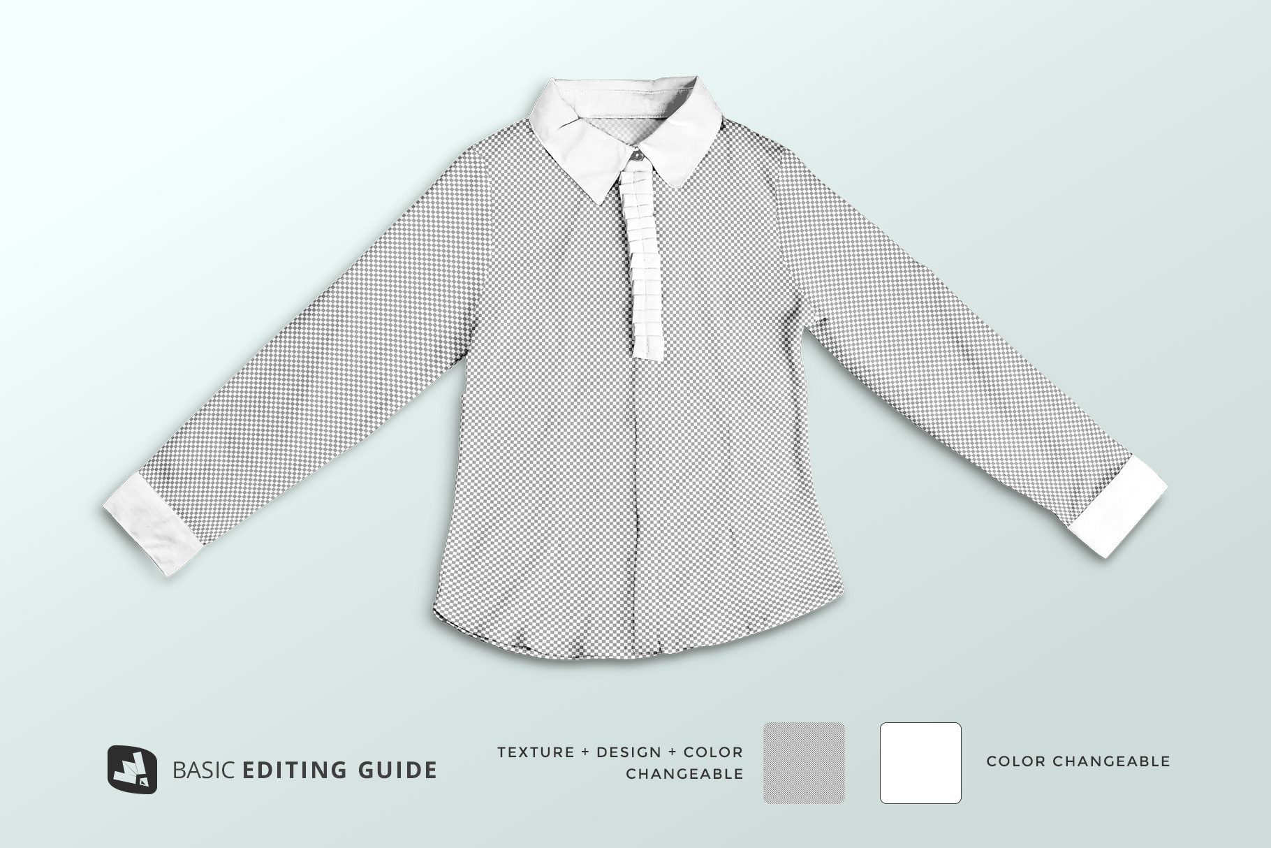 editability of the women's full sleeve blouse mockup