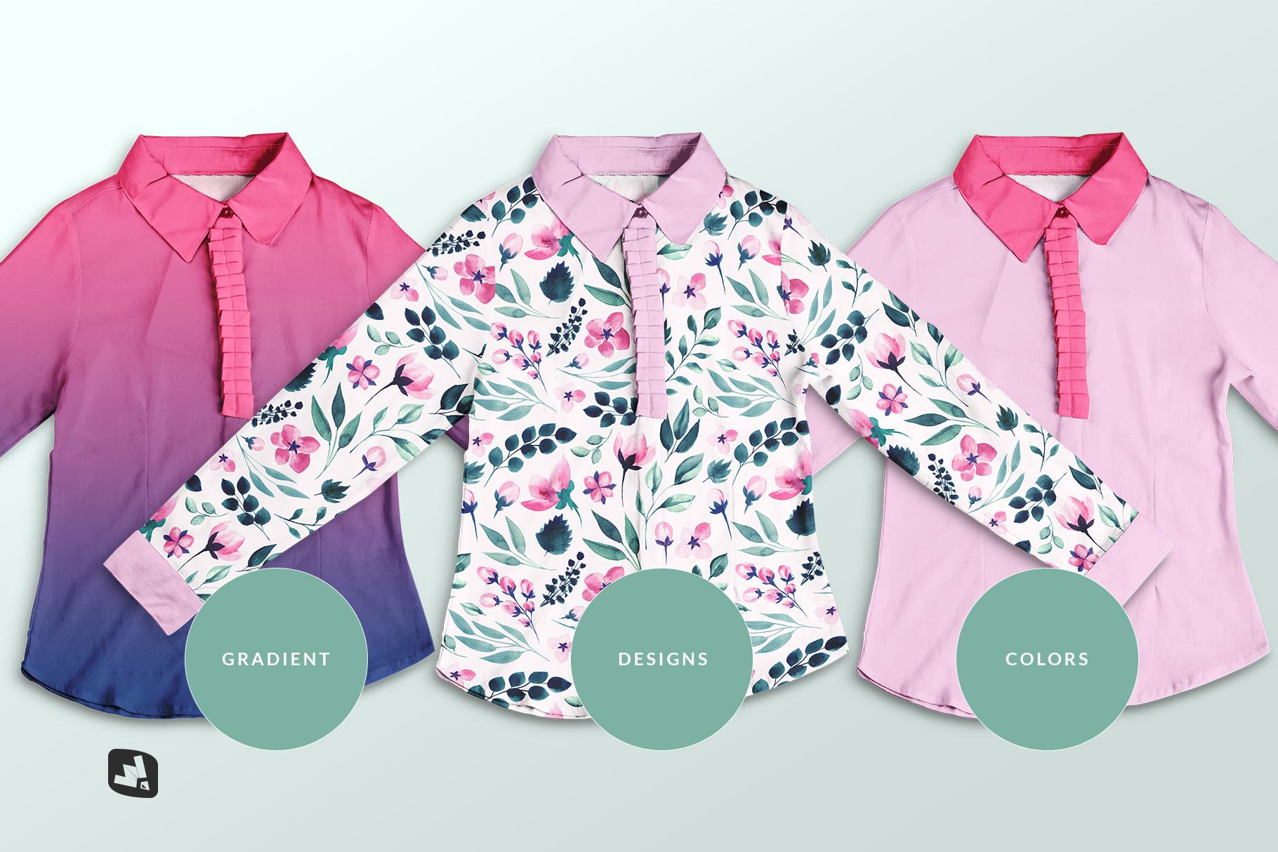 types of the women's full sleeve blouse mockup