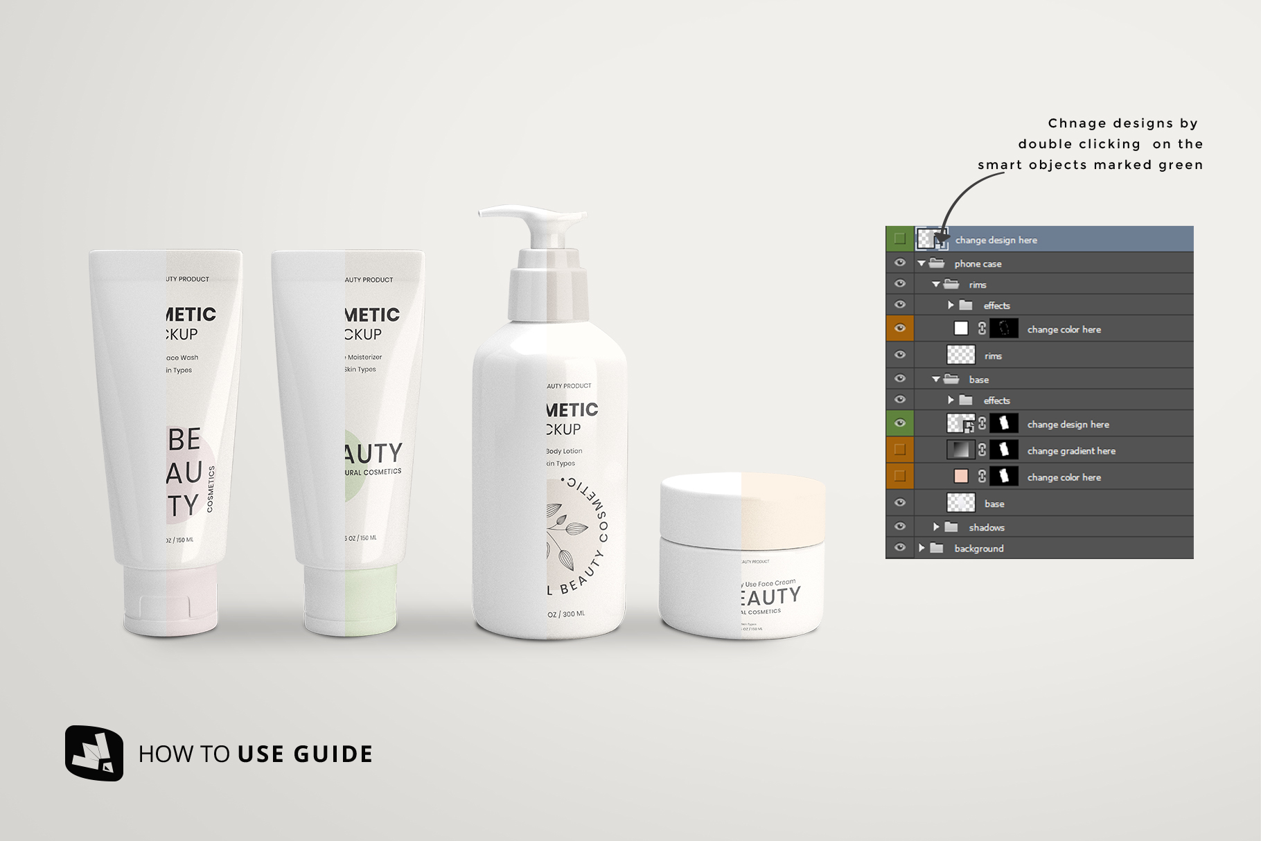 how to change label design of the beauty product packaging set mockup