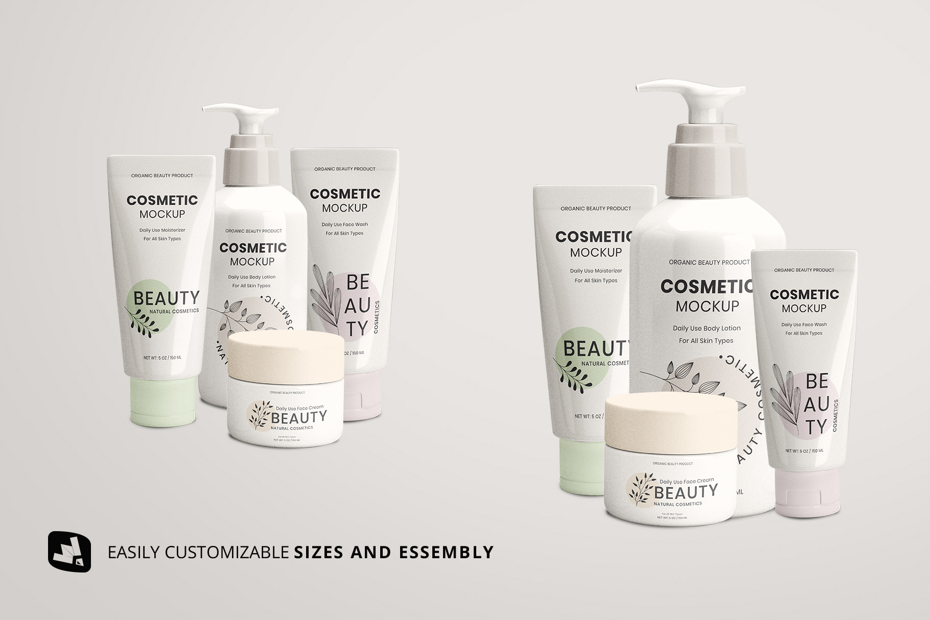 customizable size and essembly of the beauty product packaging set mockup