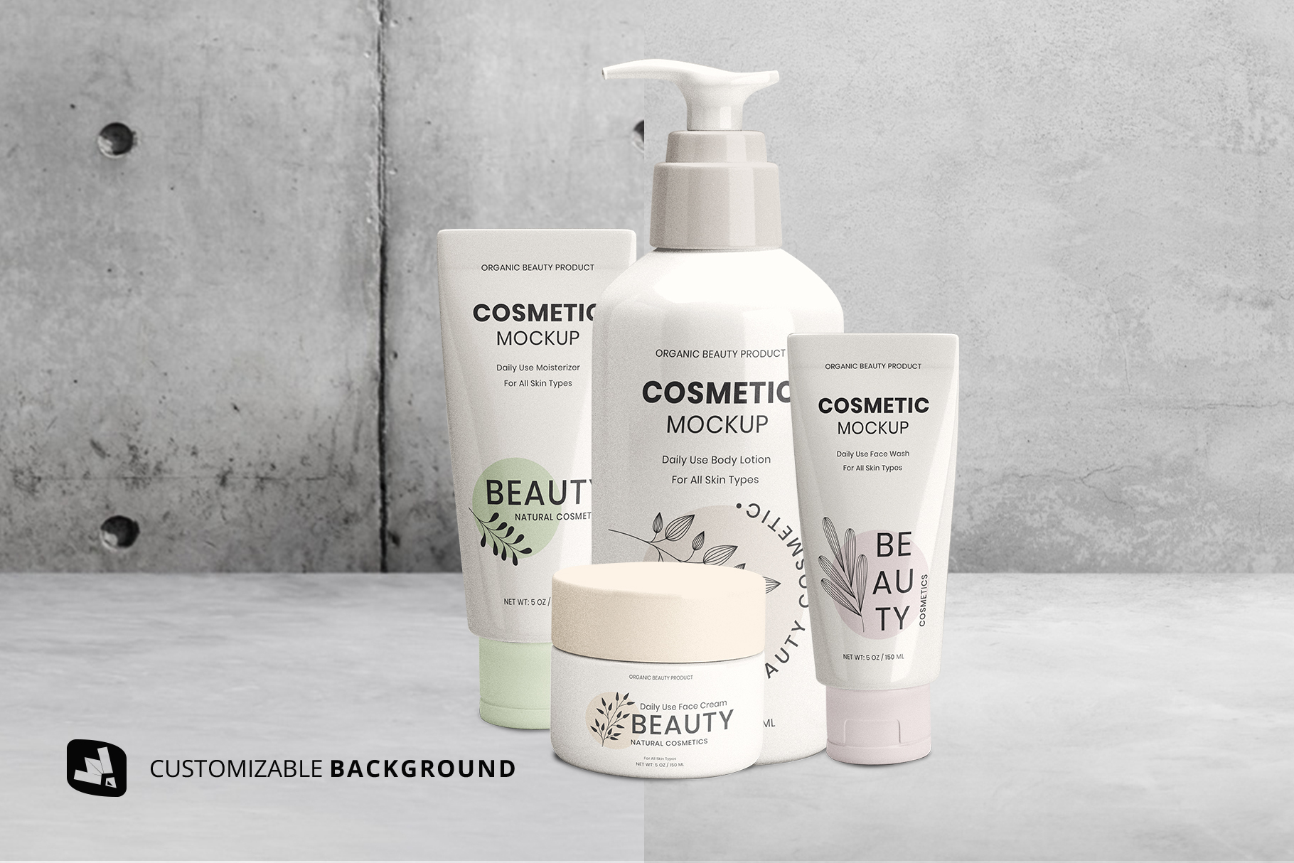 background options of the beauty product packaging set mockup