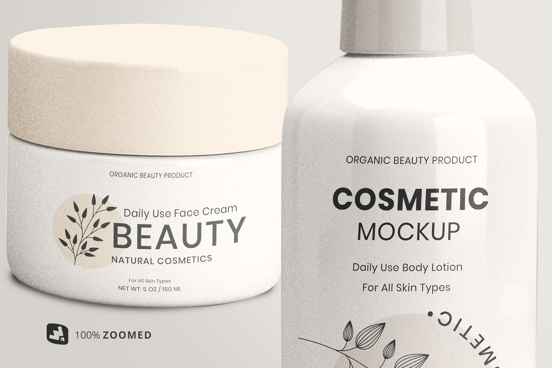 zoomed in image of the beauty product packaging set mockup