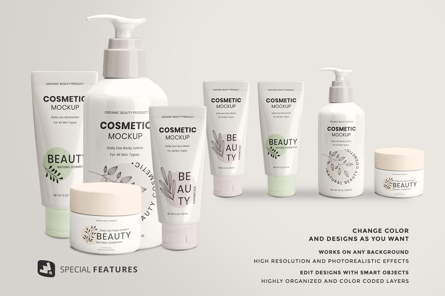 special features of the beauty product packaging set mockup