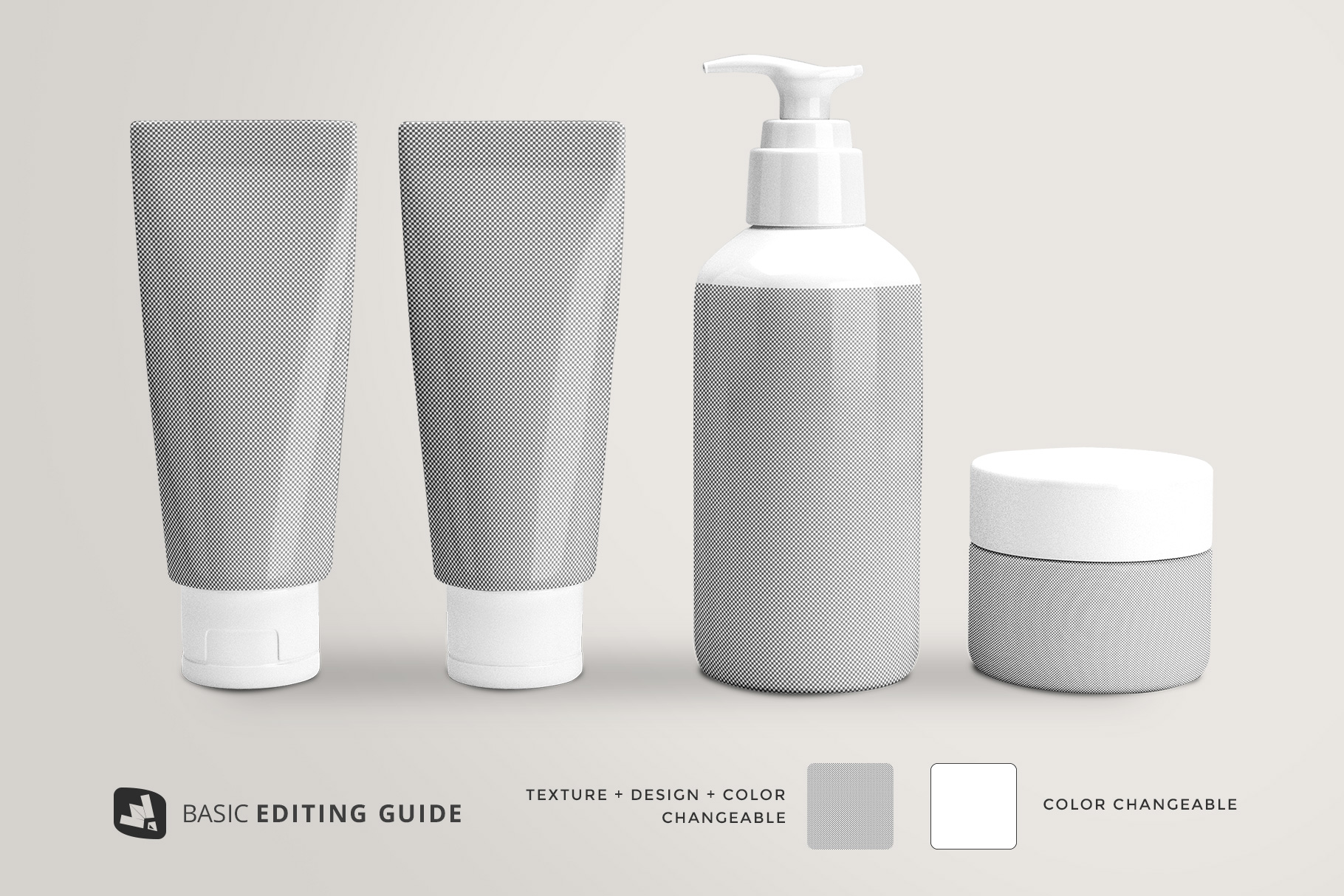 editability of the beauty product packaging set mockup