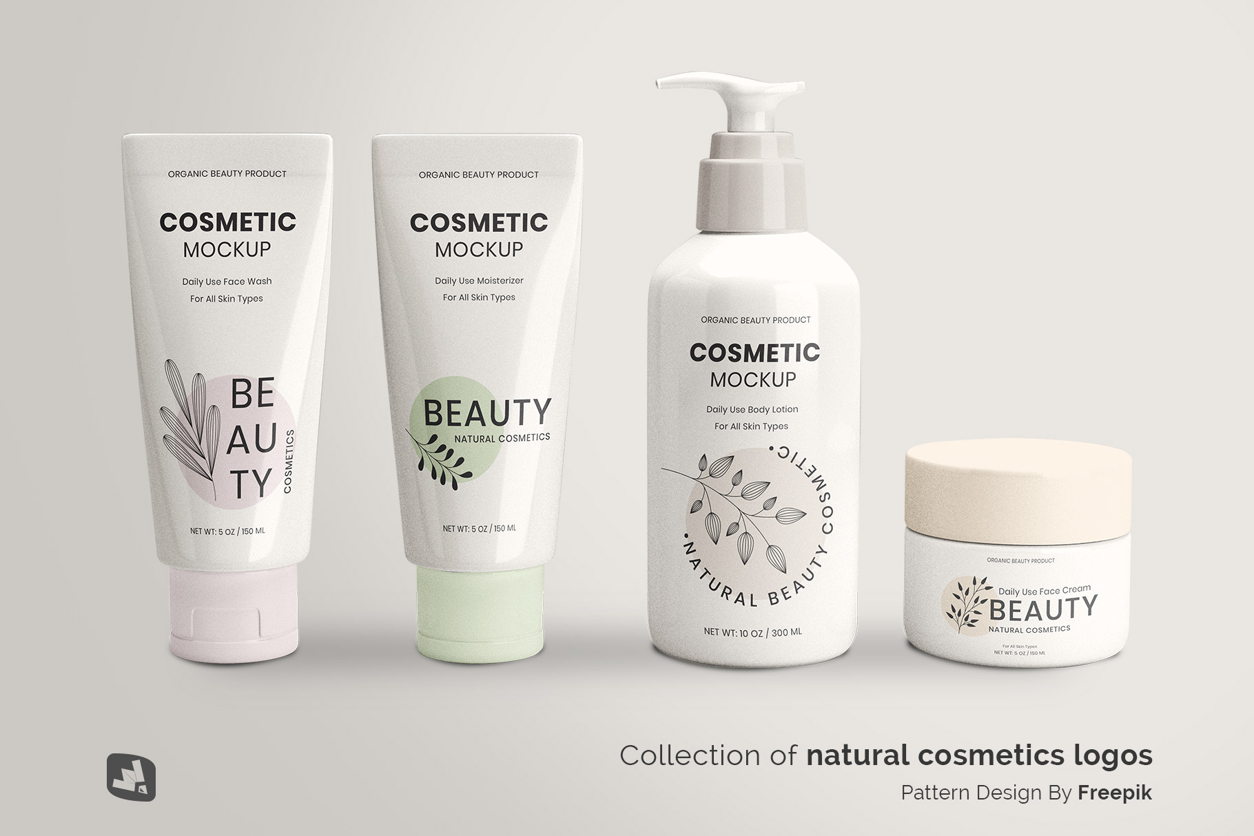 designer's credit of the beauty product packaging set mockup
