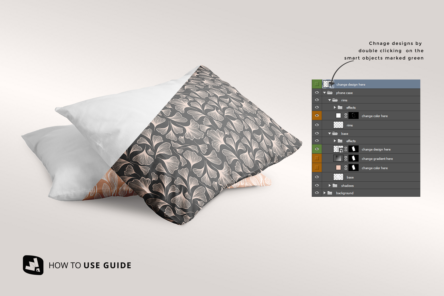 how to change designof the set of cotton pillow case mockup