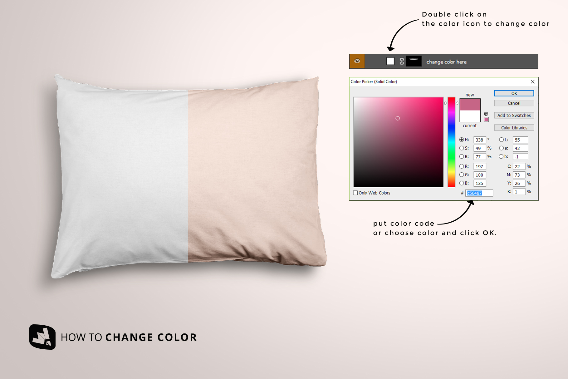how to change color of the set of cotton pillow case mockup
