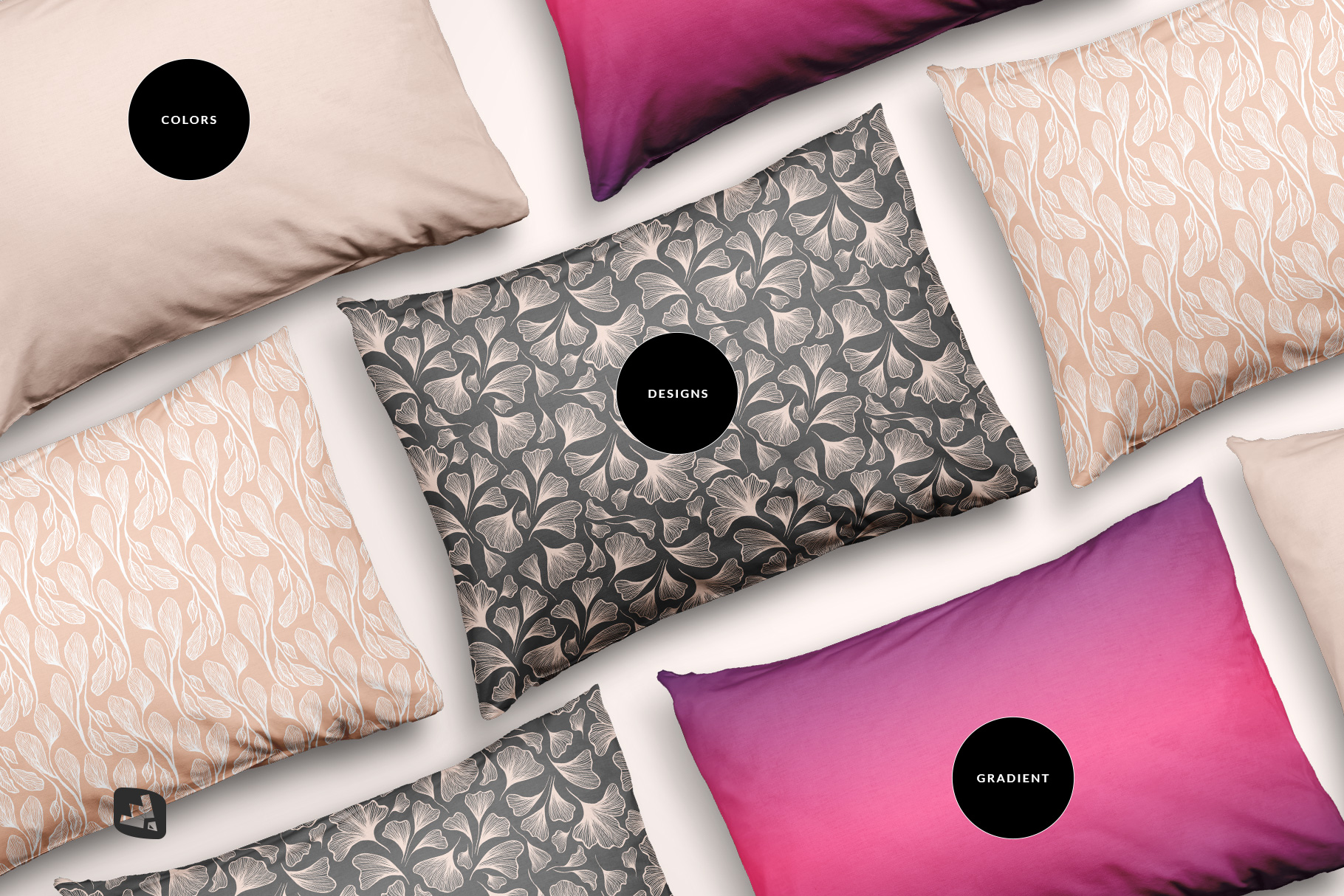 types of the set of cotton pillow case mockup