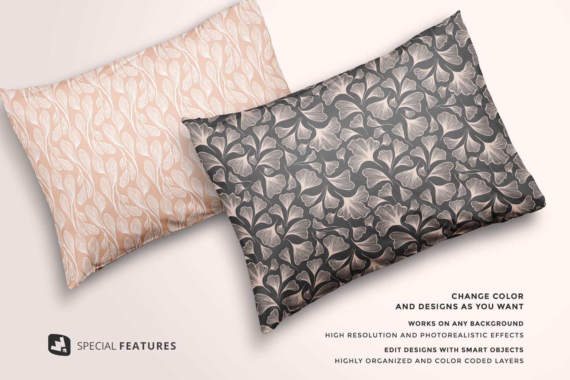 special features of the set of cotton pillow case mockup
