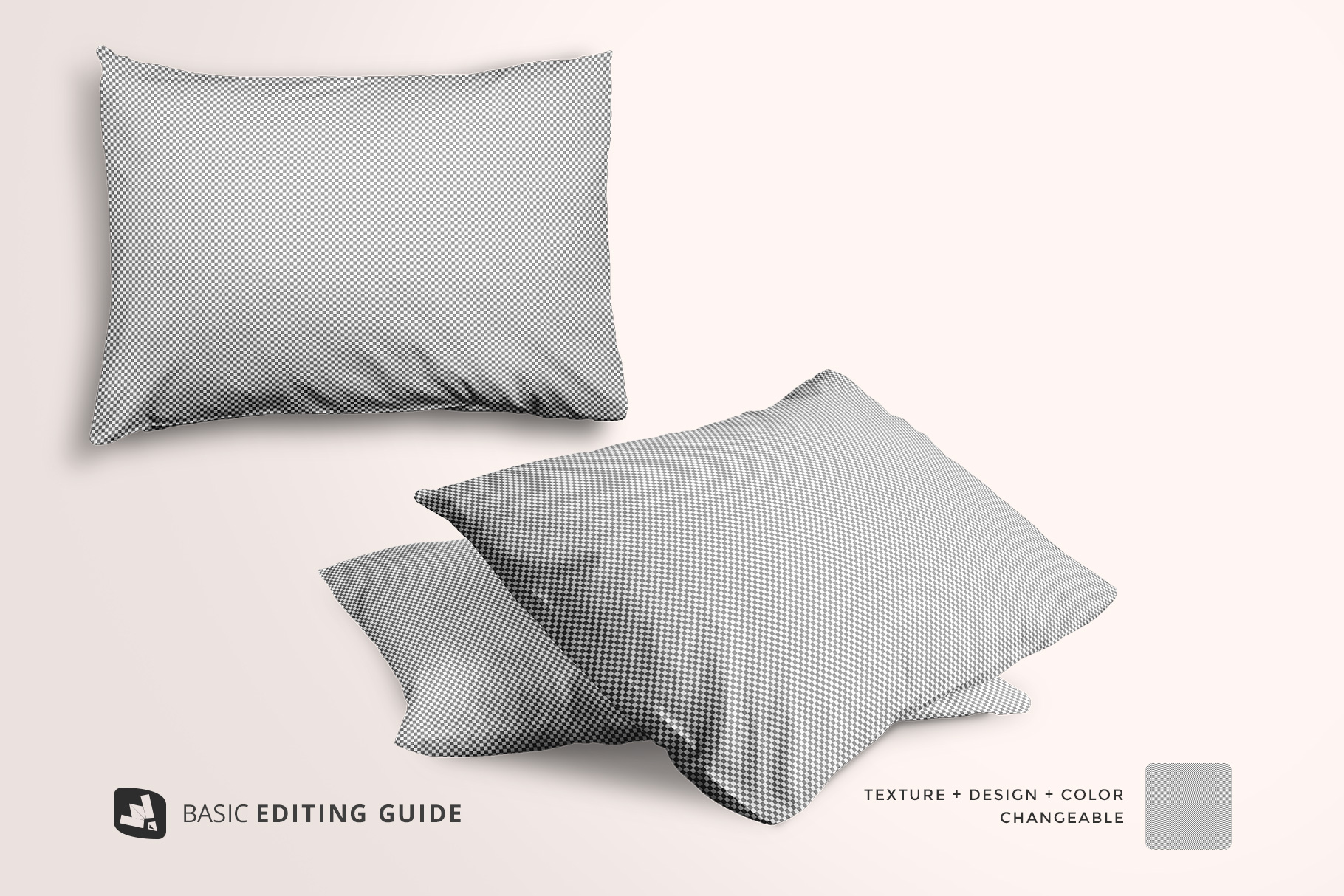 editability of the set of cotton pillow case mockup