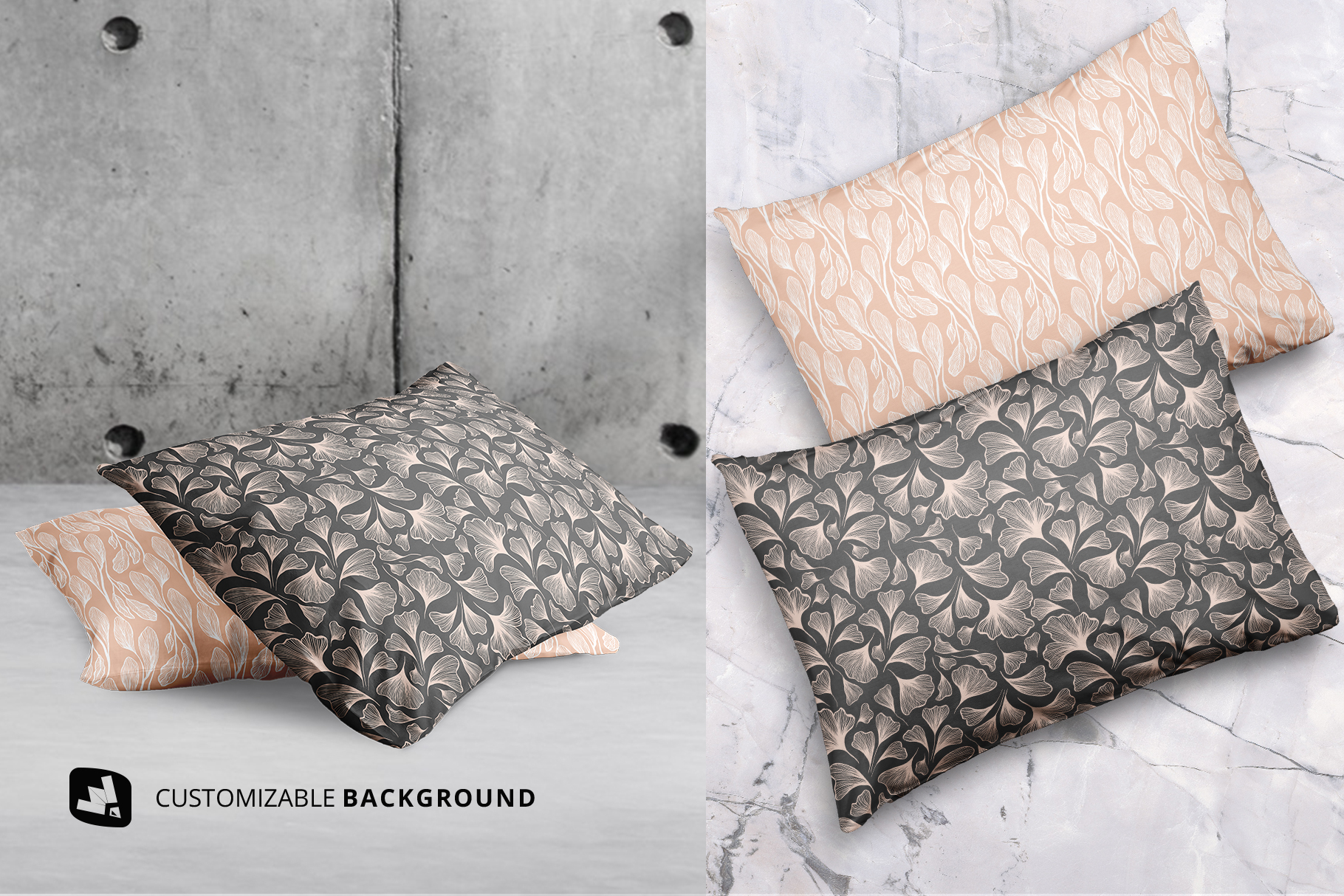 background options of the set of cotton pillow case mockup