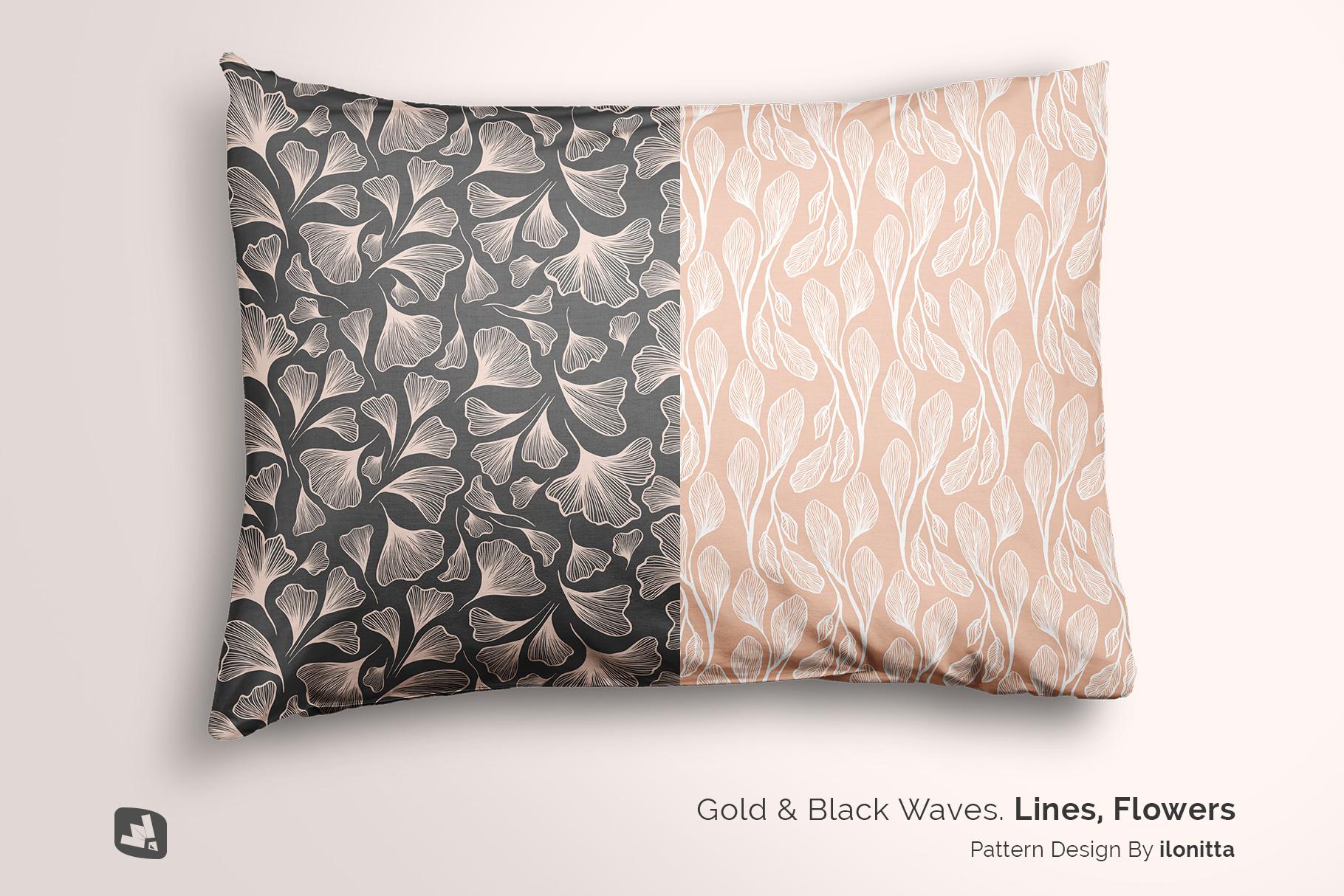 designer's credit of the set of cotton pillow case mockup
