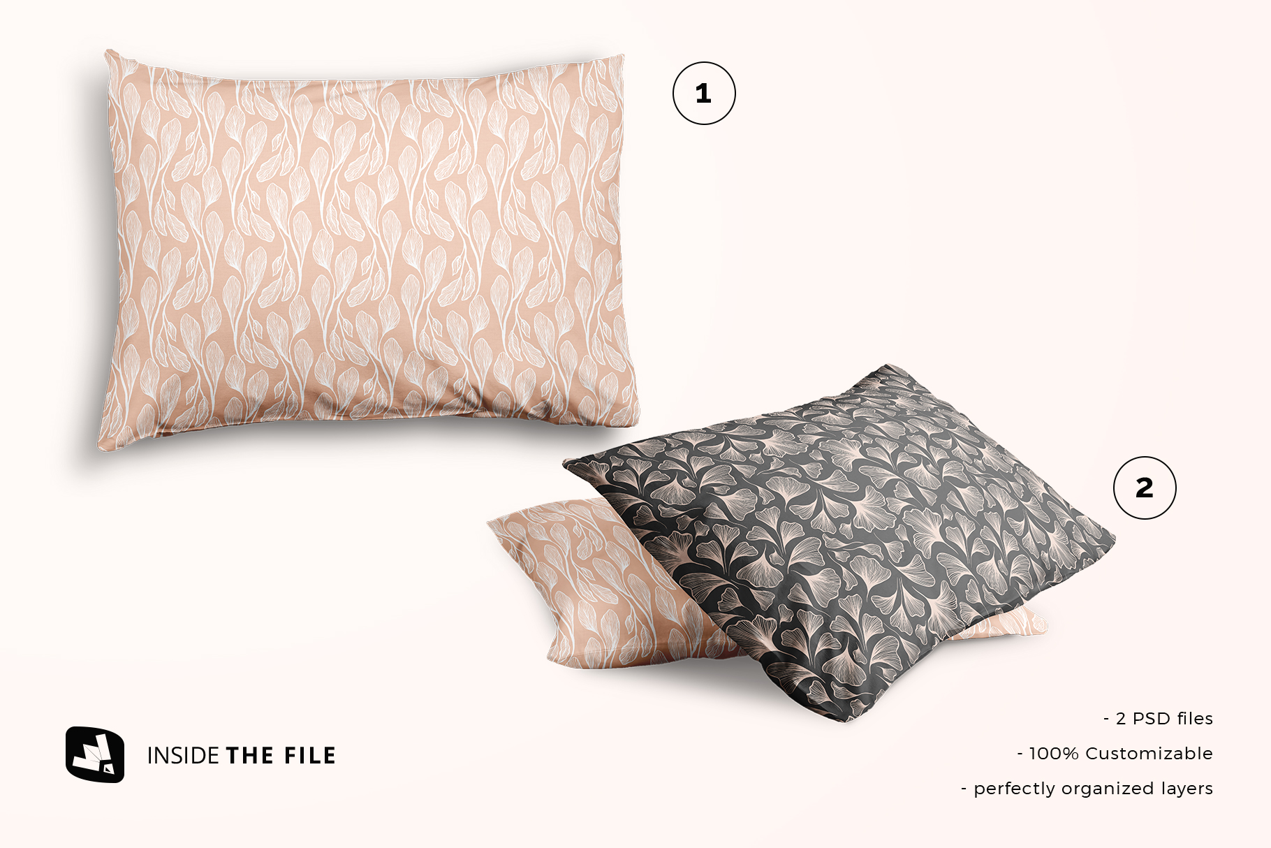 files included in the set of cotton pillow case mockup