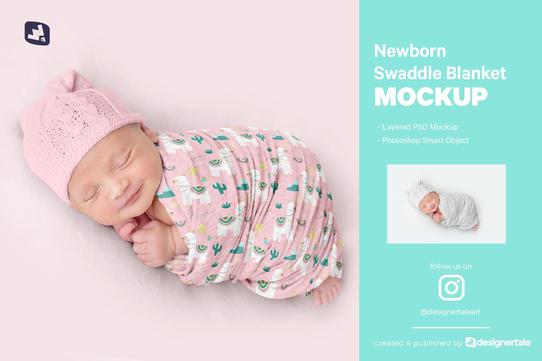 newborn swaddle blanket mockup