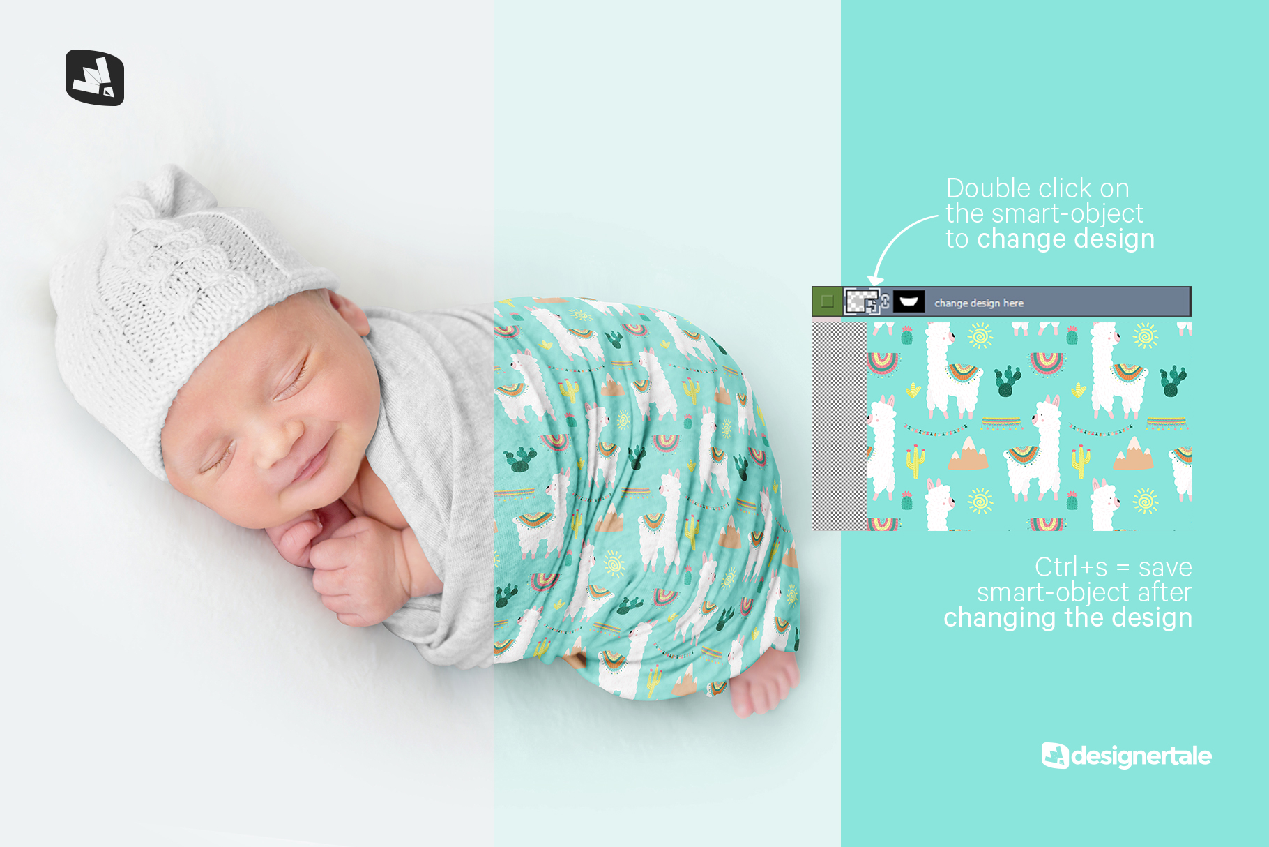 how to change design of the newborn swaddle blanket mockup