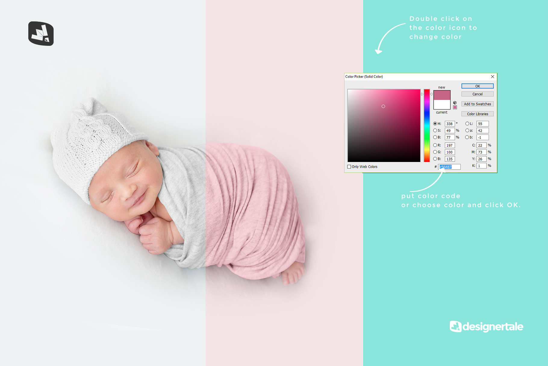 how to change color of the newborn swaddle blanket mockup
