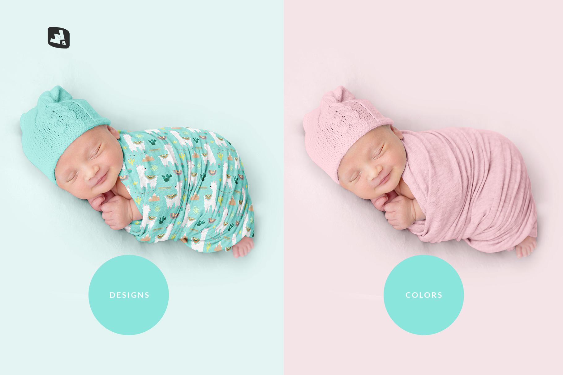 types of the newborn swaddle blanket mockup
