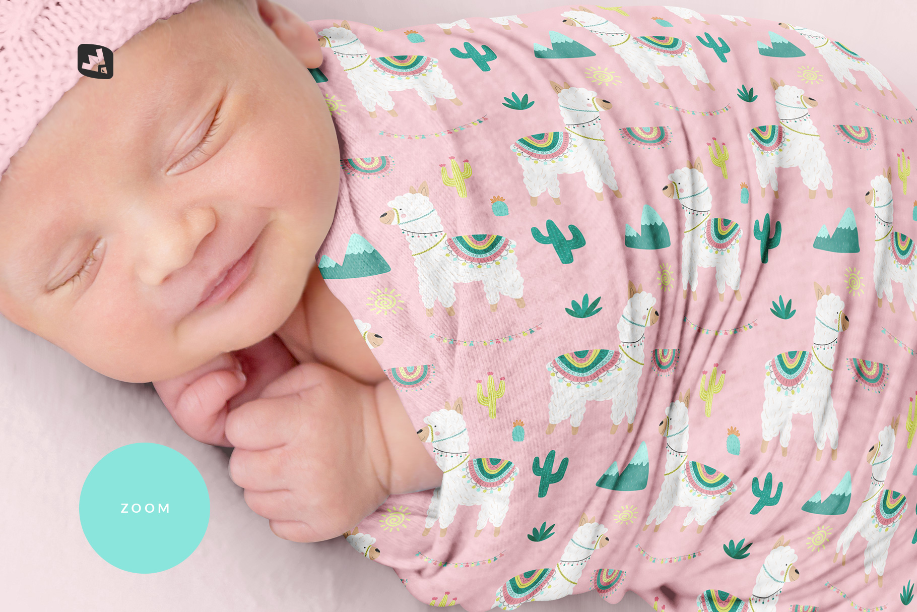 zoomed in image of the newborn swaddle blanket mockup