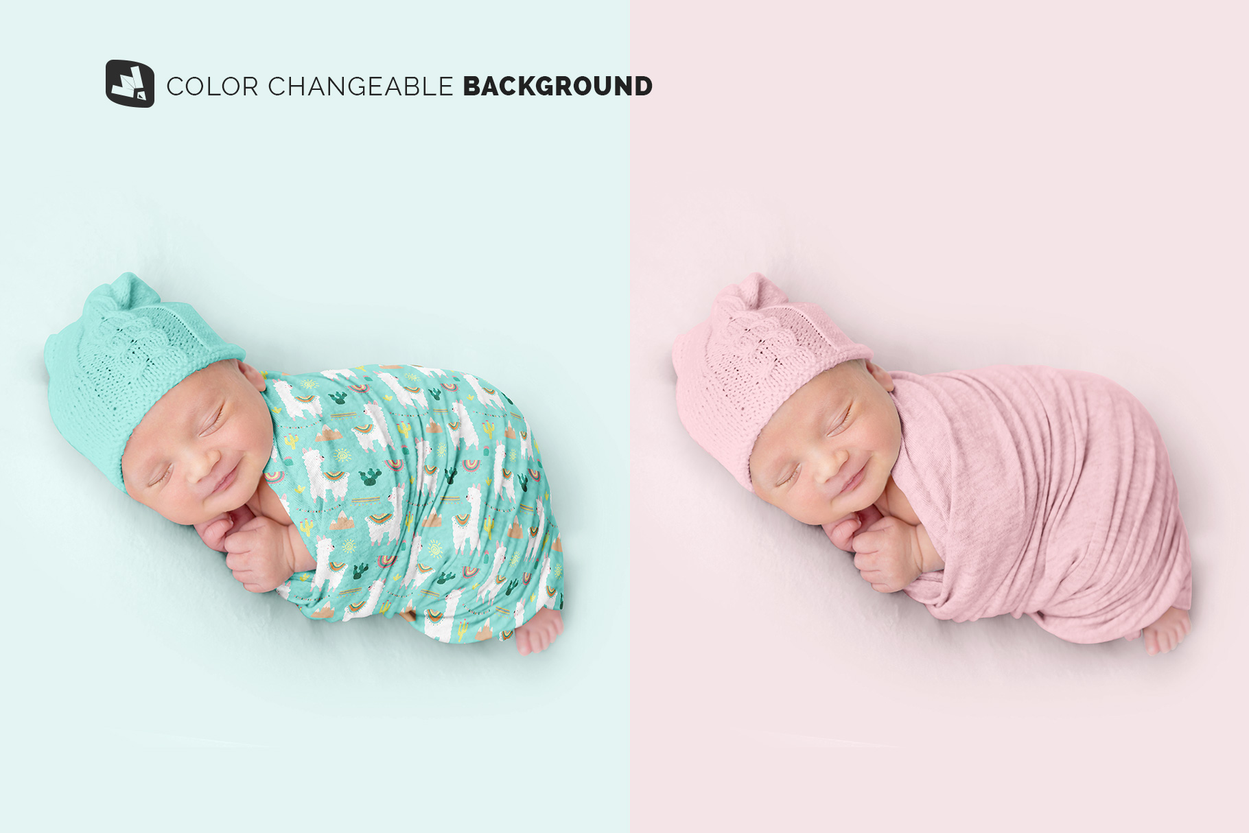 color changeable background of the newborn swaddle blanket mockup