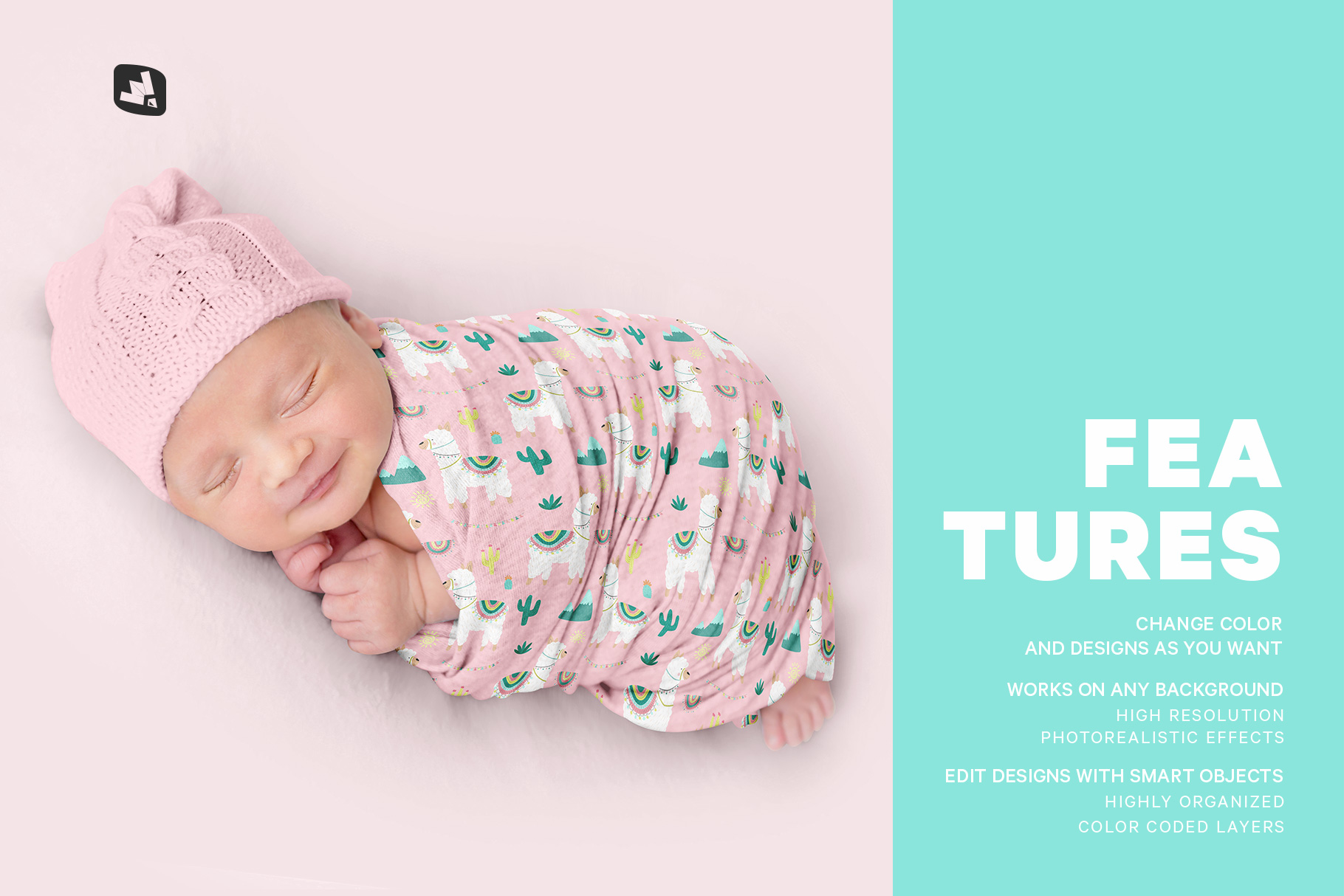 features of the newborn swaddle blanket mockup