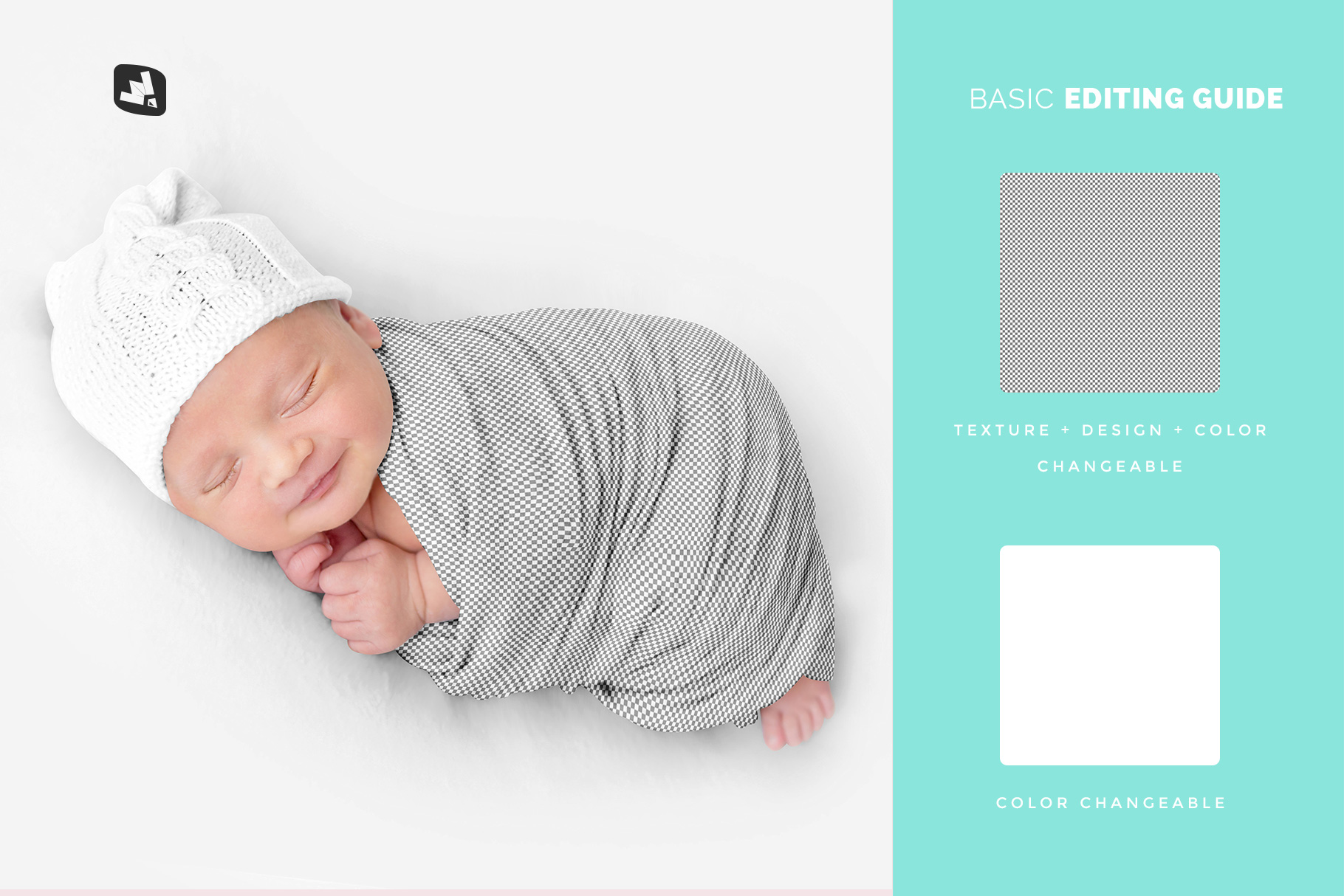 editability of the newborn swaddle blanket mockup