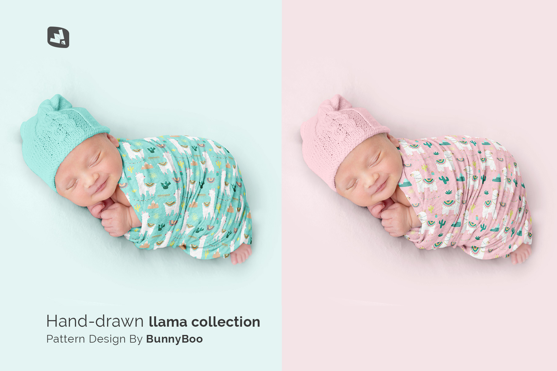 designer's credit of the newborn swaddle blanket mockup