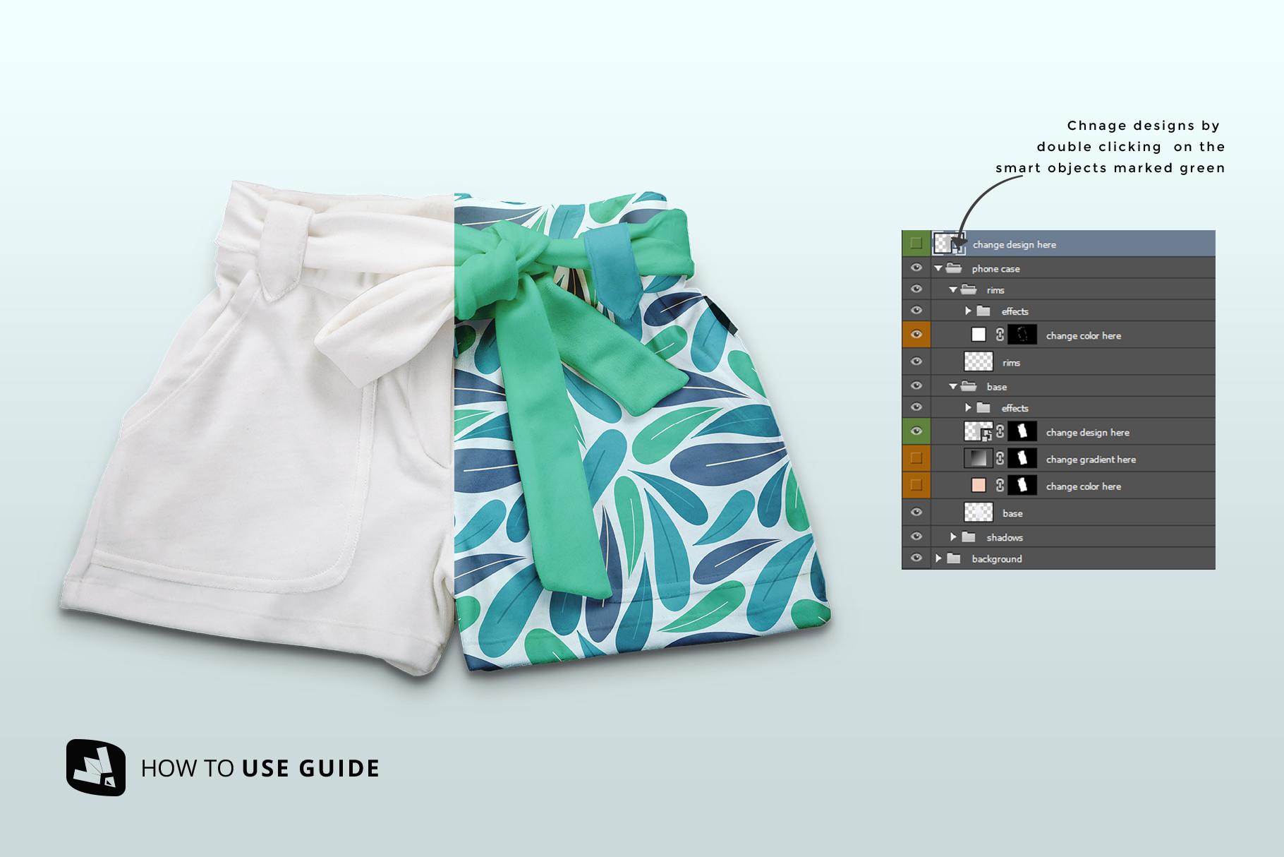 how to change design of the women's fancy short pants mockup