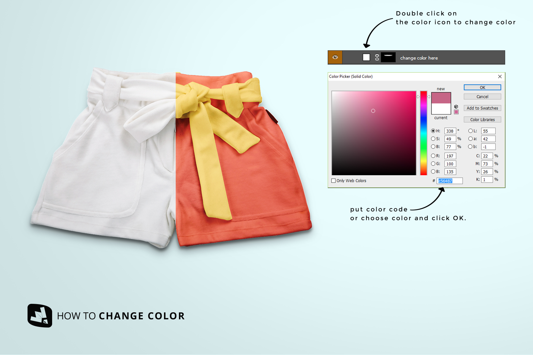 how to change color of the women's fancy short pants mockup