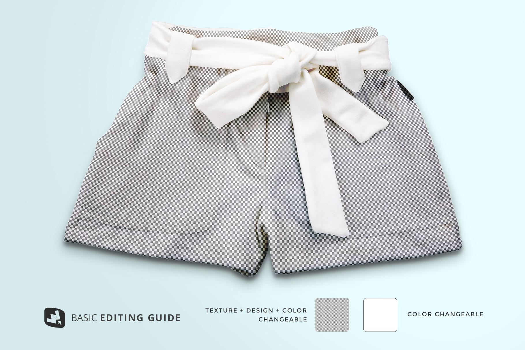 editability of the women's fancy short pants mockup