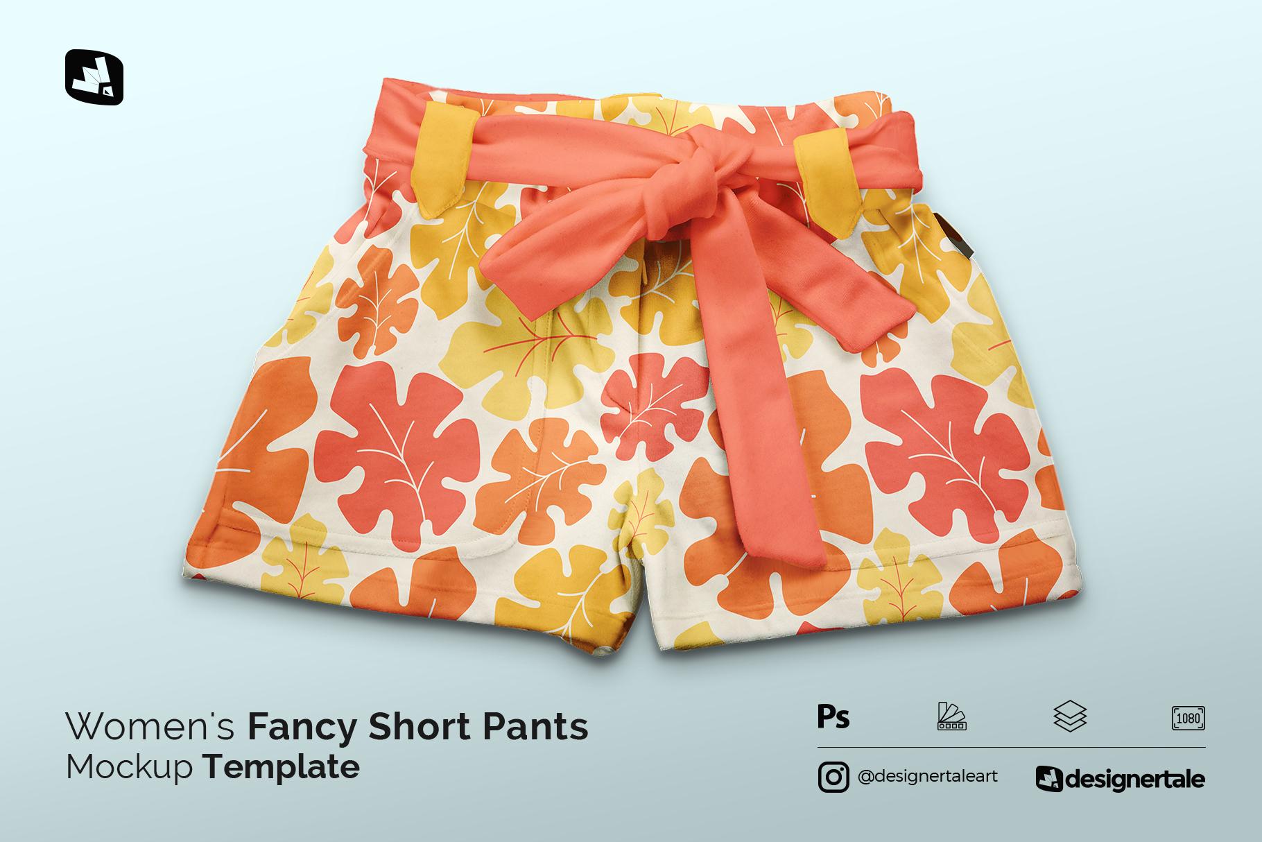 women's fancy short pants mockup