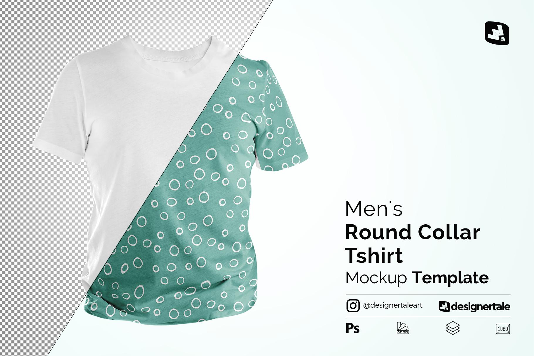 men's round collar tshirt mockup