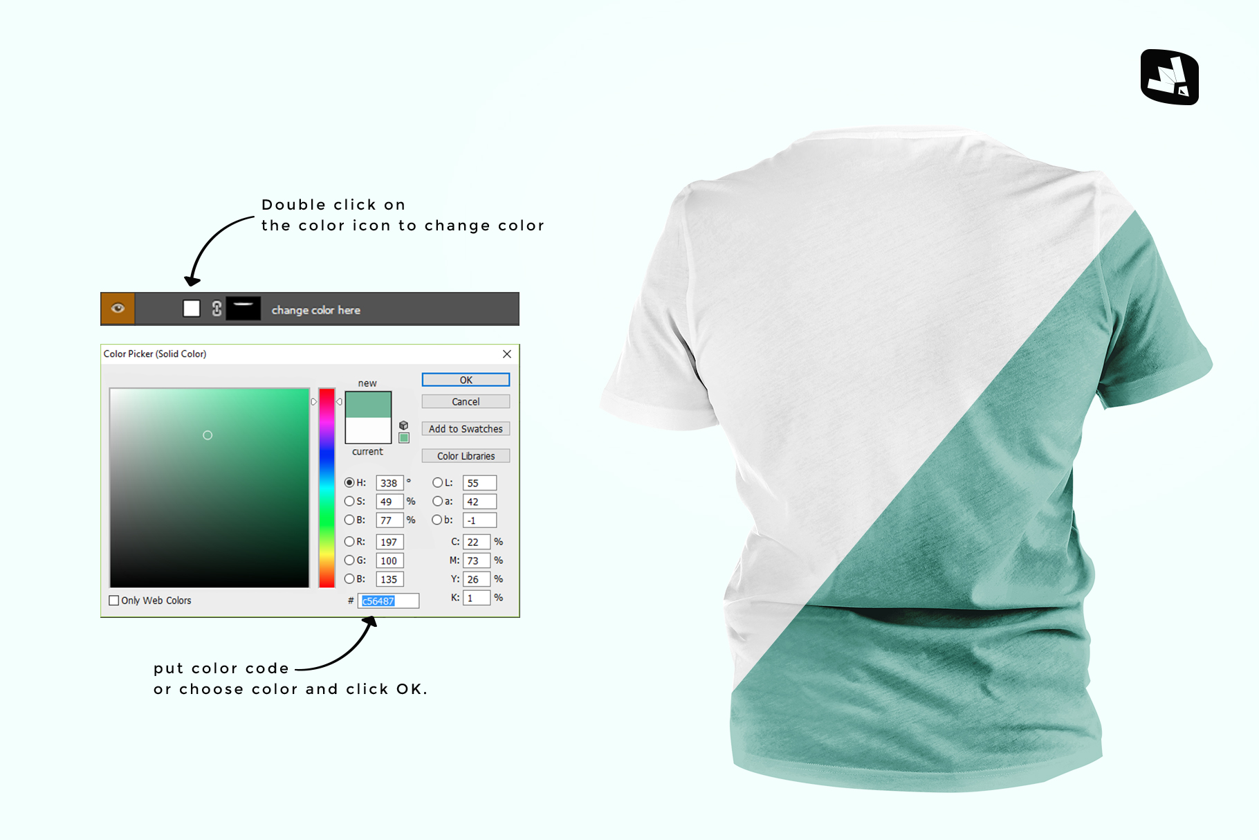 how to change color of the men's round collar tshirt mockup