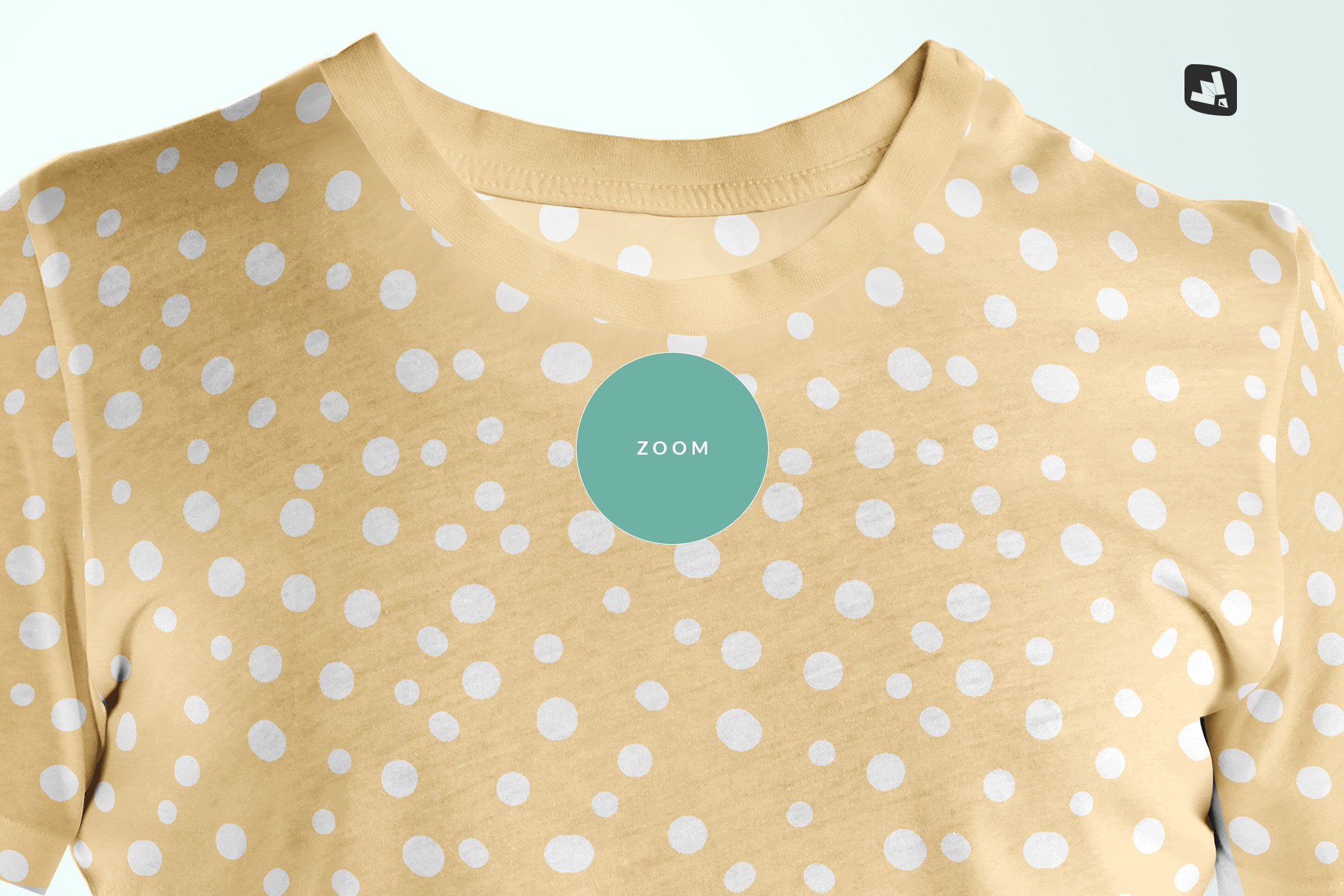 zoomed in image of the men's round collar tshirt mockup