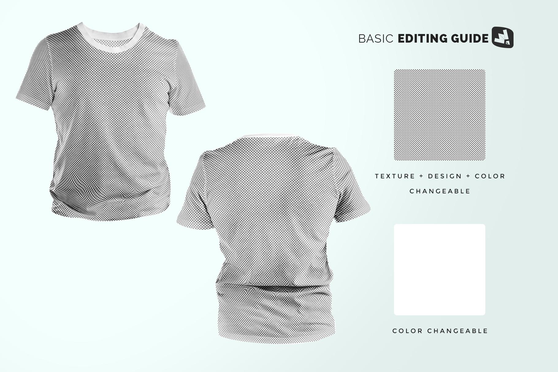 editability of the men's round collar tshirt mockup