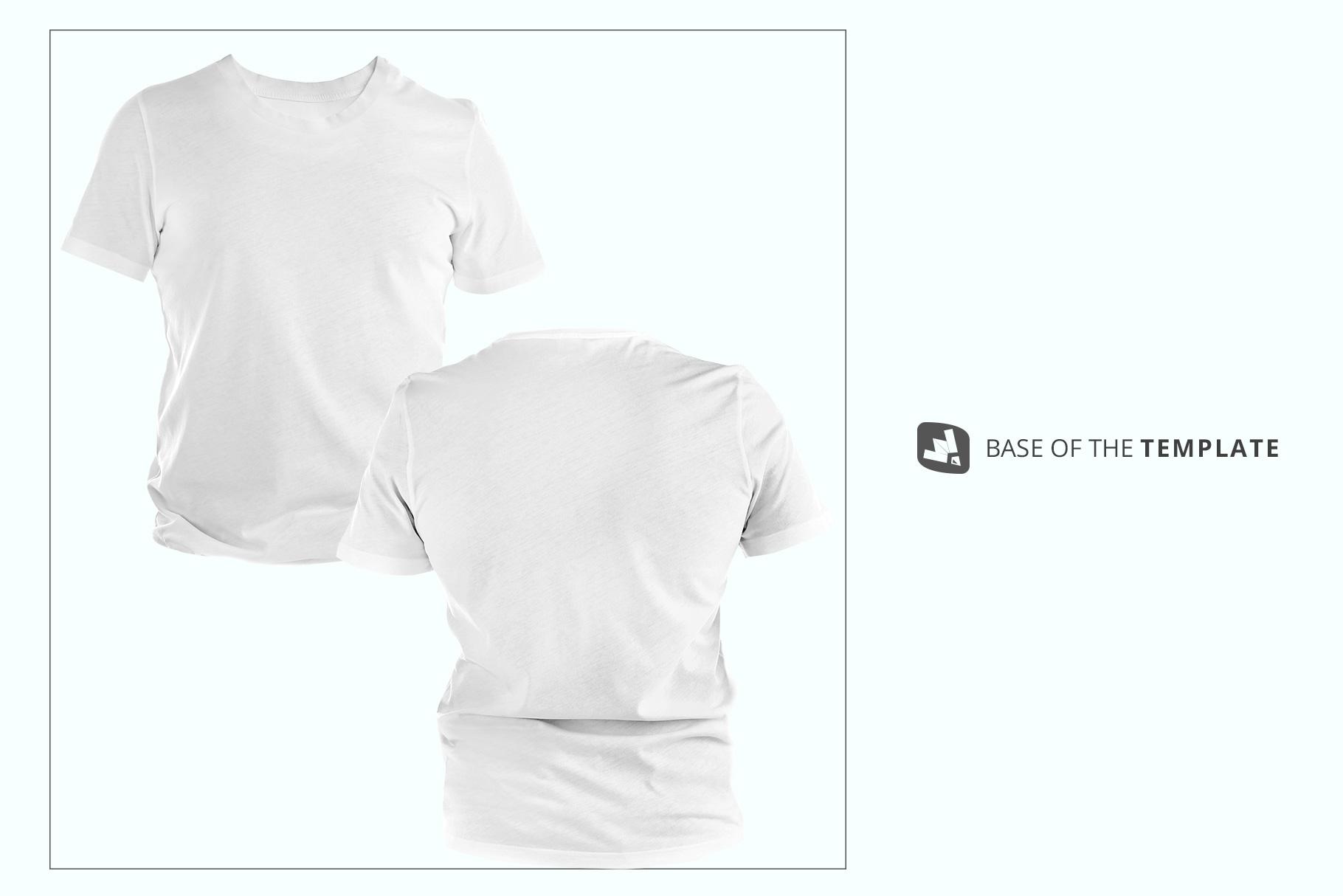 base image of the men's round collar tshirt mockup