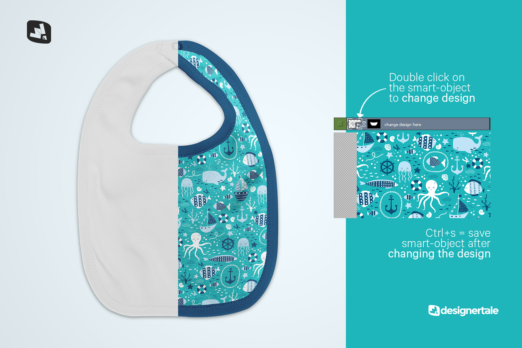 how to change design of the top view baby bib mockup