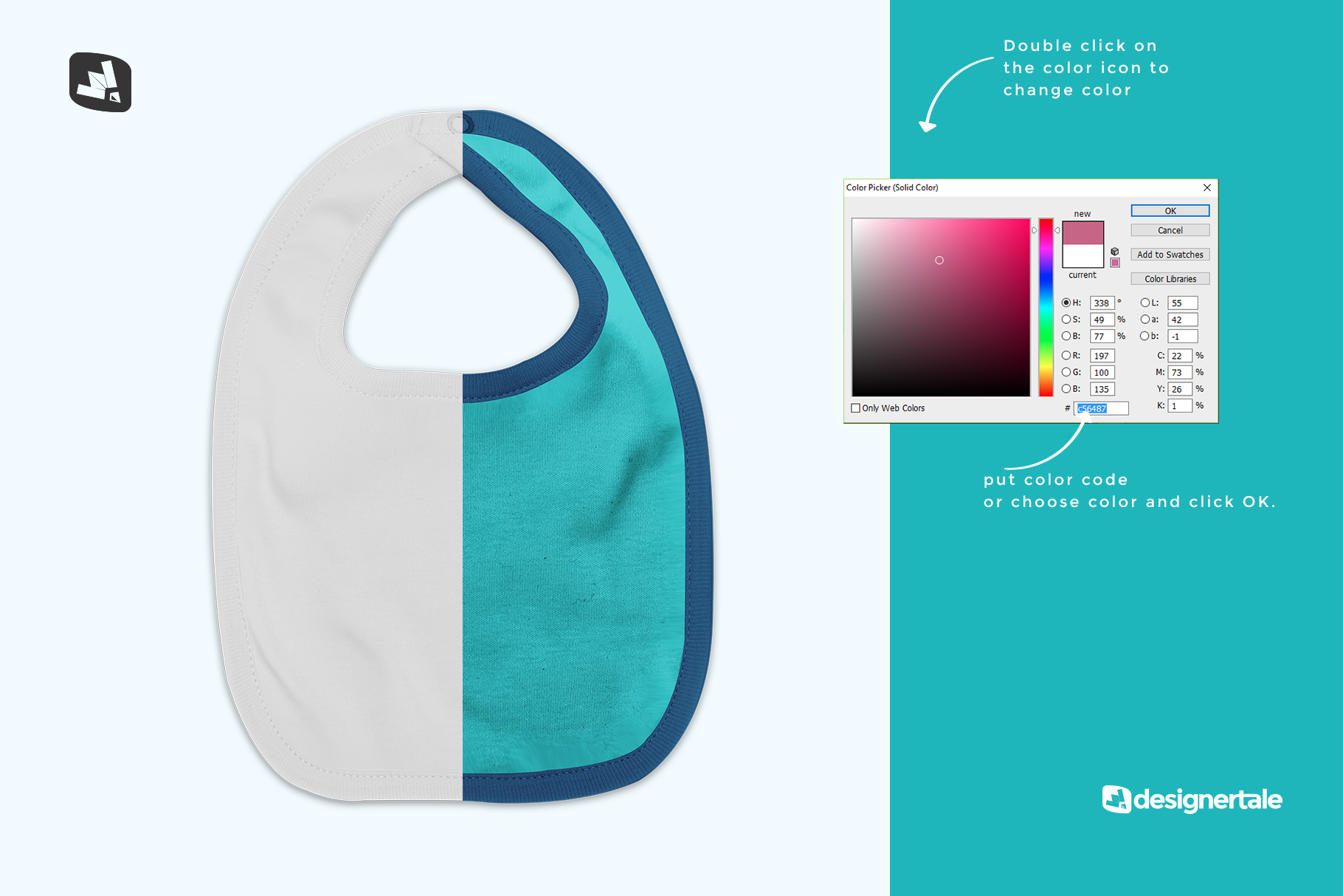 how to change color of the top view baby bib mockup
