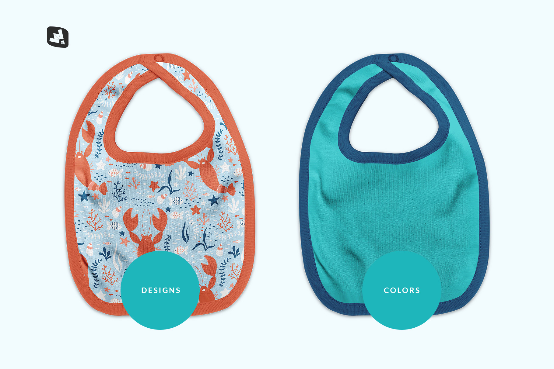 types of the top view baby bib mockup