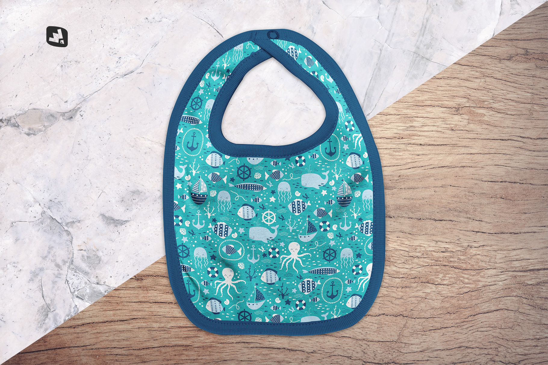 background options of the top view baby bib mockup
