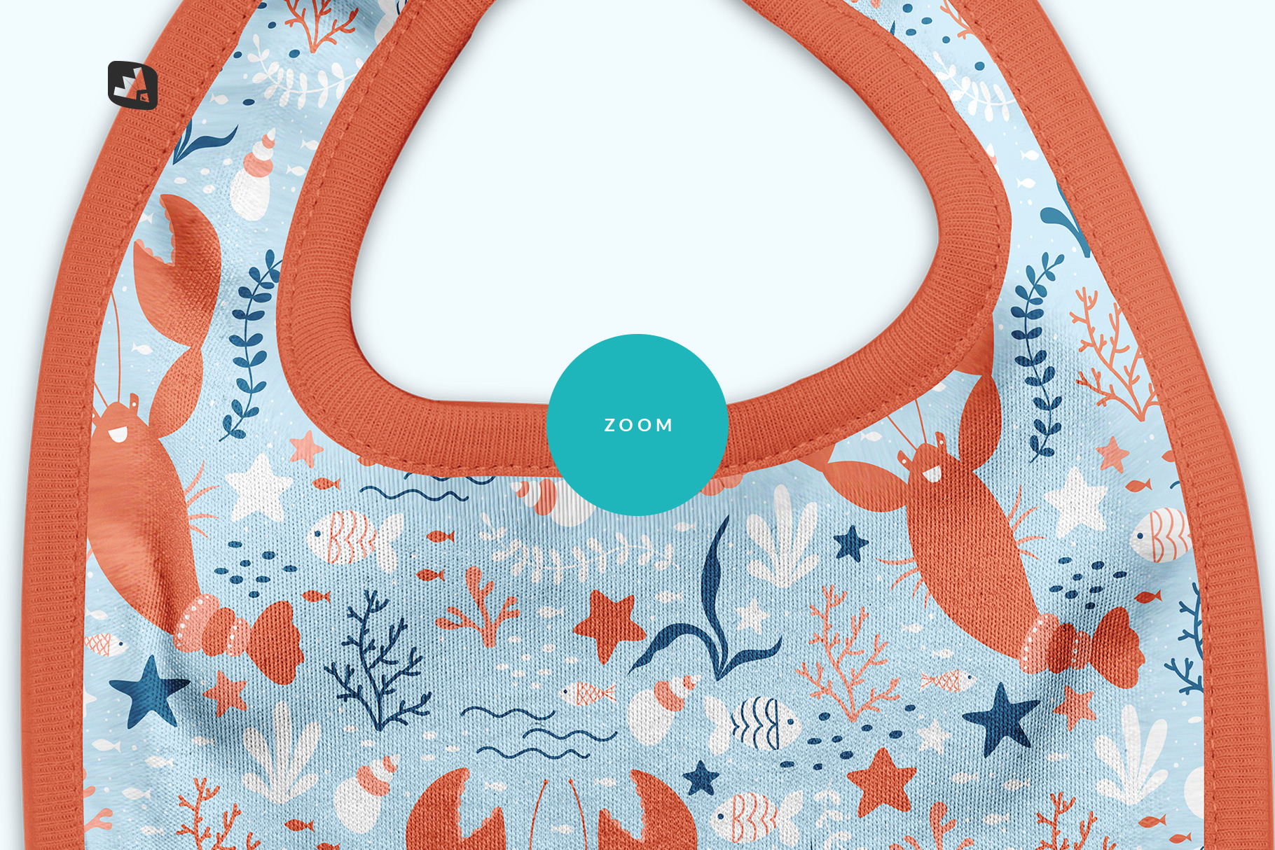 zoomed in image of the top view baby bib mockup