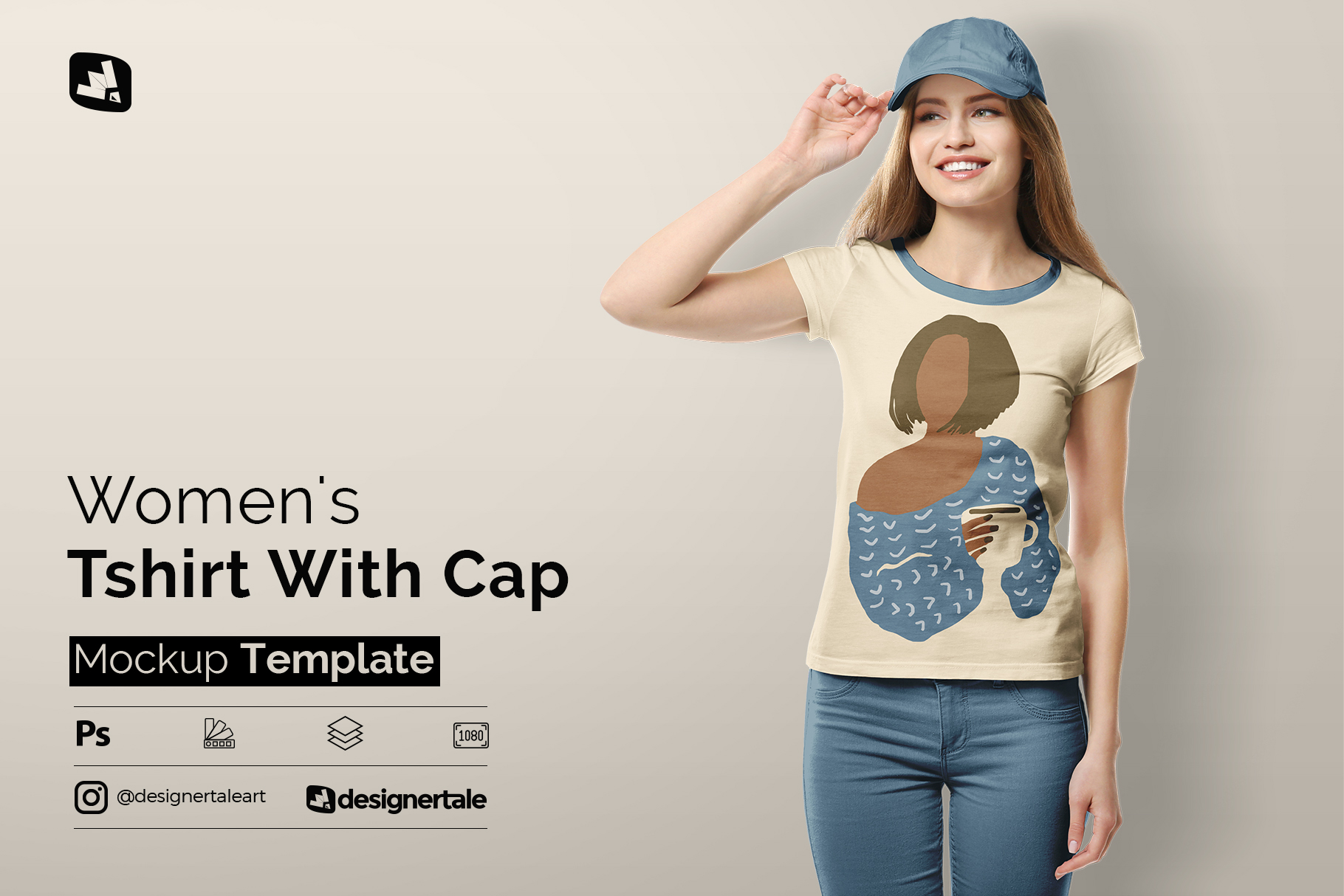 women's tshirt with cap mockup