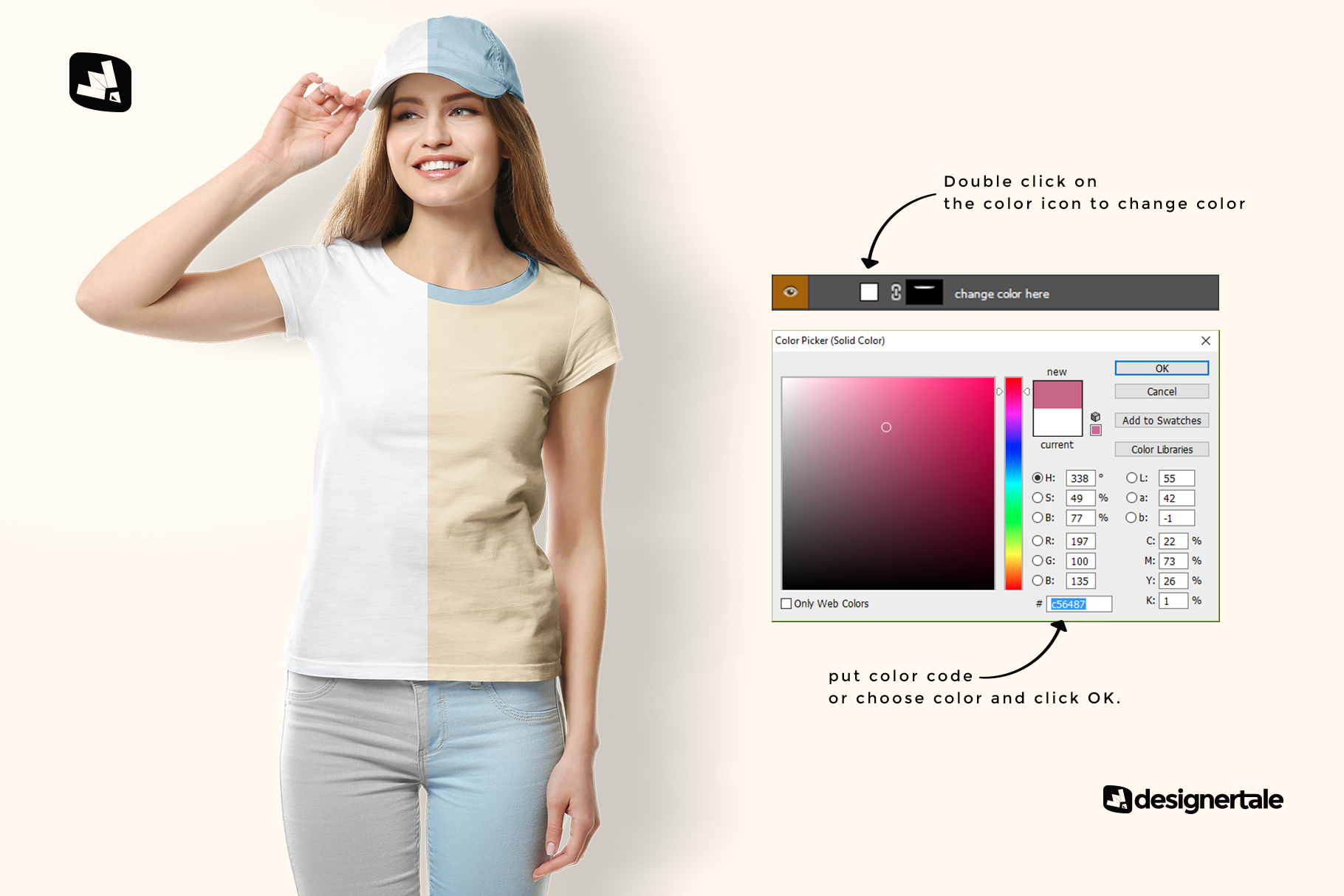 how to change color of the women's tshirt with cap mockup