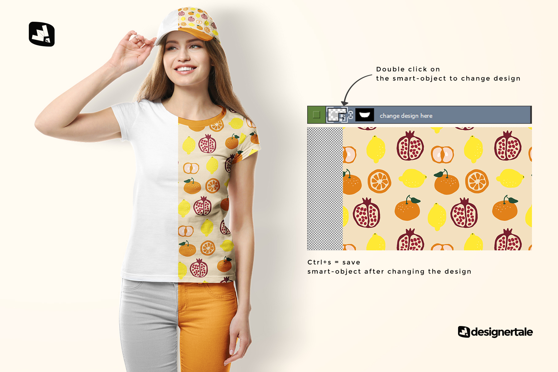 how to change design of the women's tshirt with cap mockup