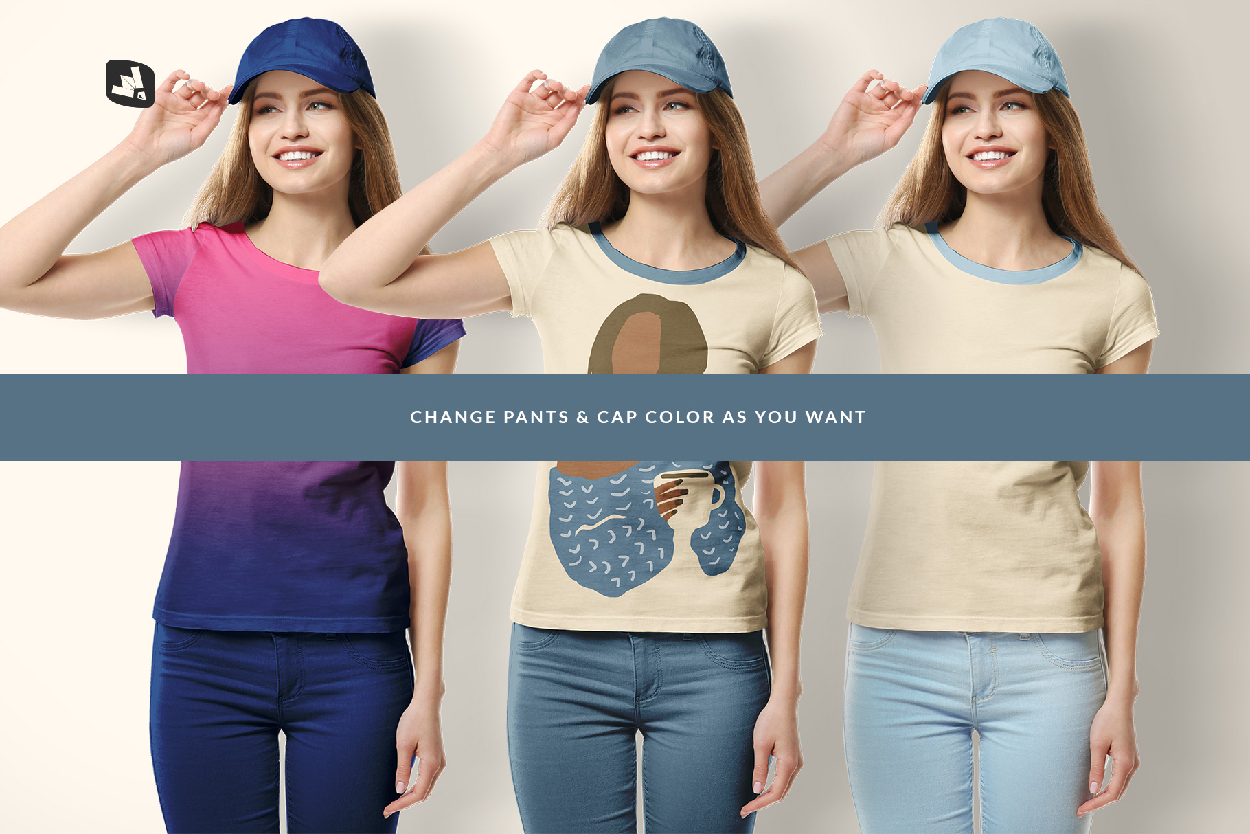 customizable pants and cap color of the women's tshirt with cap mockup