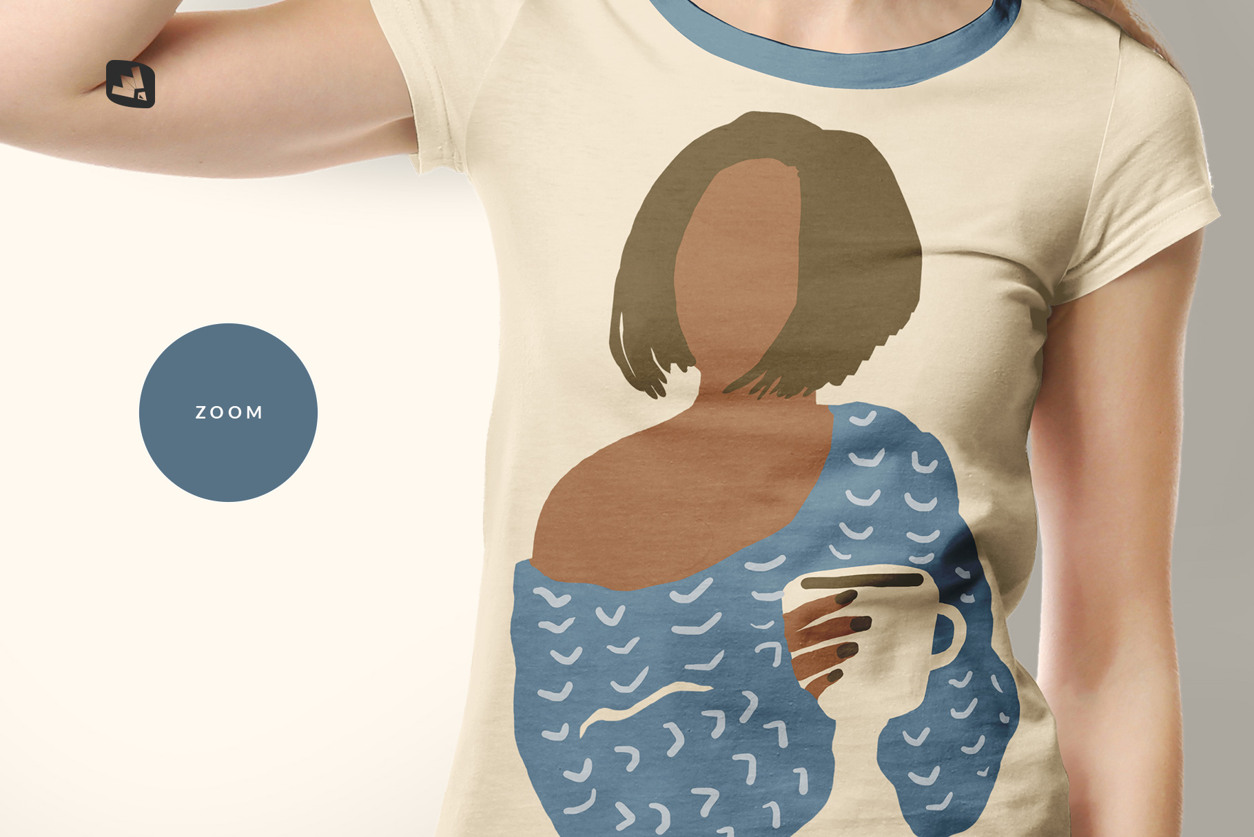 zoomed in image of the women's tshirt with cap mockup