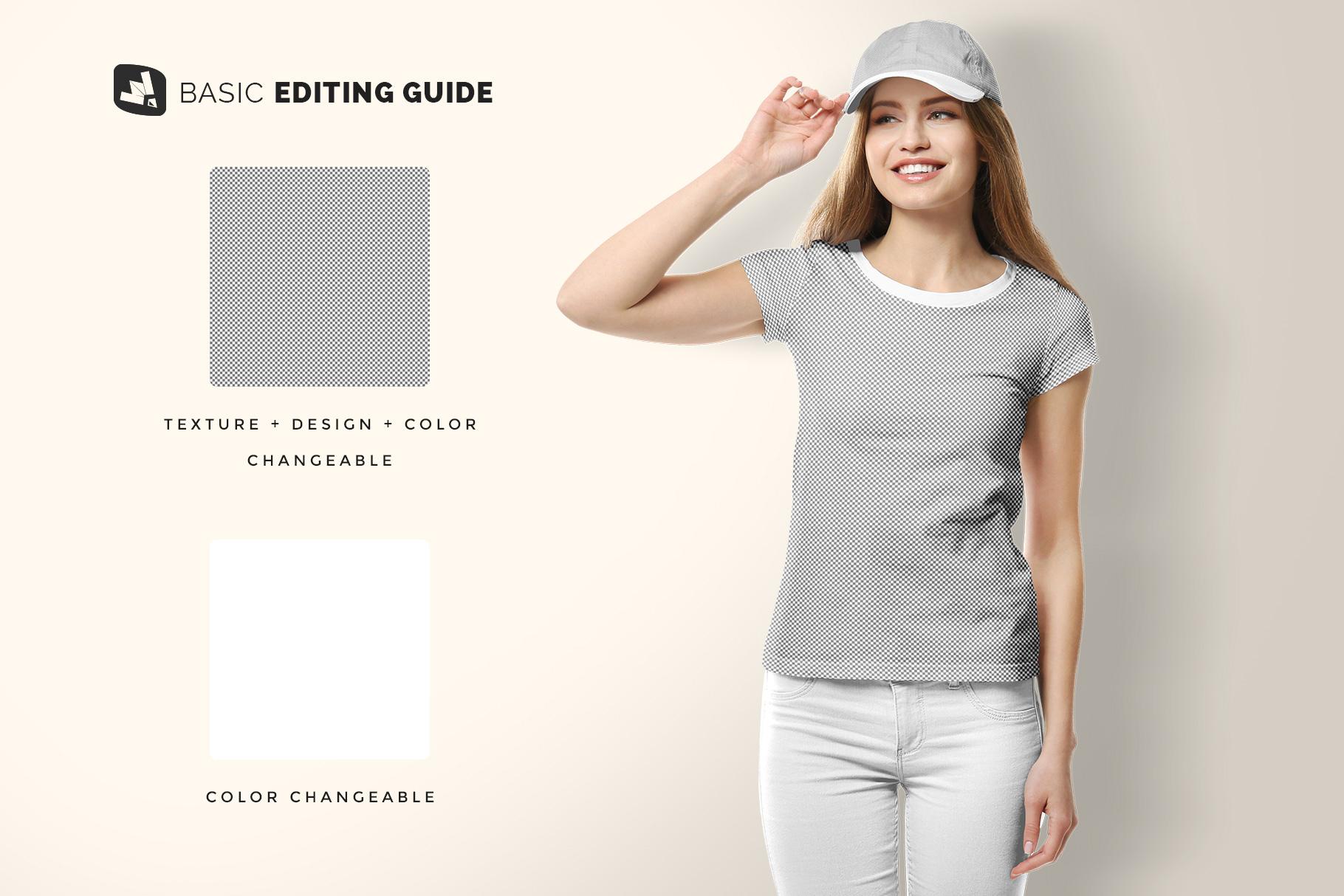 editability of the women's tshirt with cap mockup