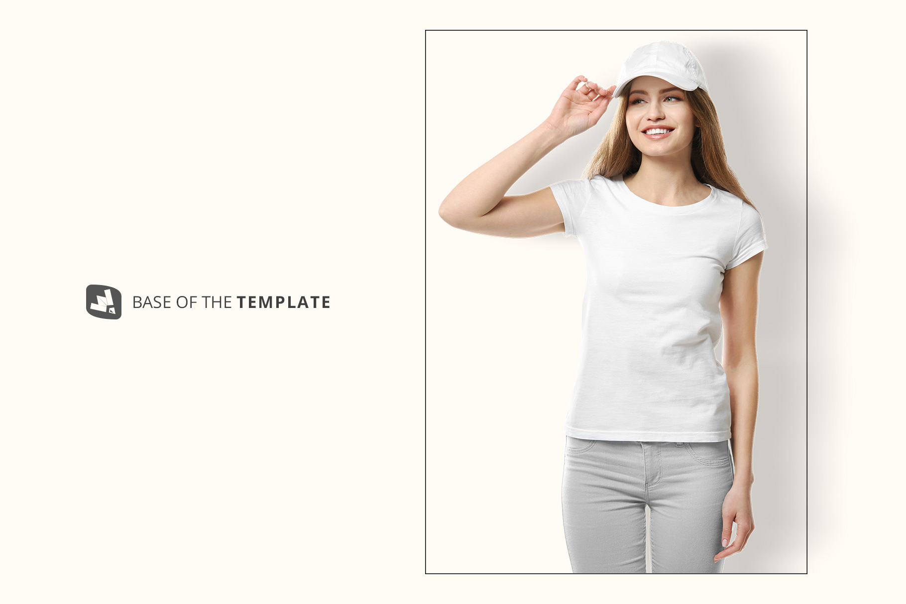 base image of the women's tshirt with cap mockup