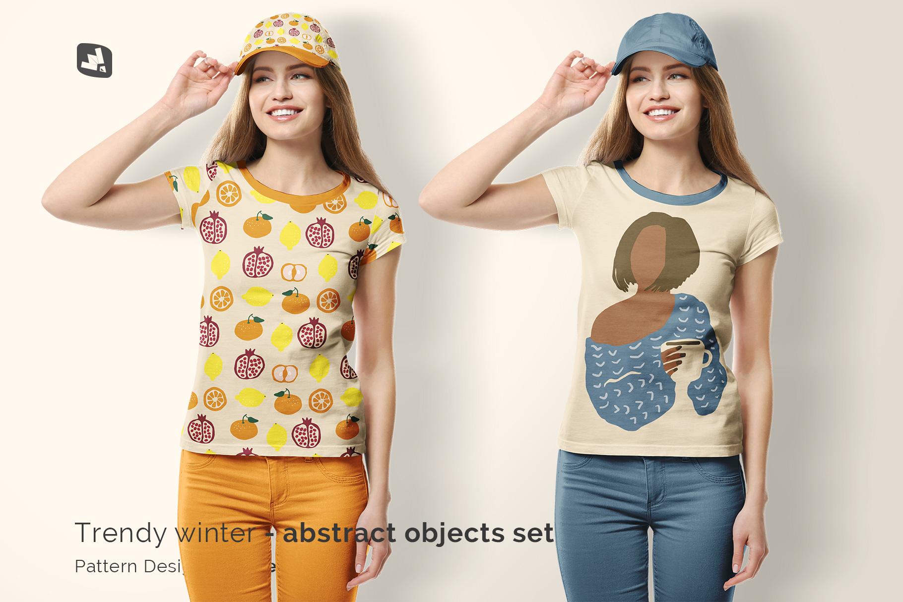 designer's credit of the women's tshirt with cap mockup