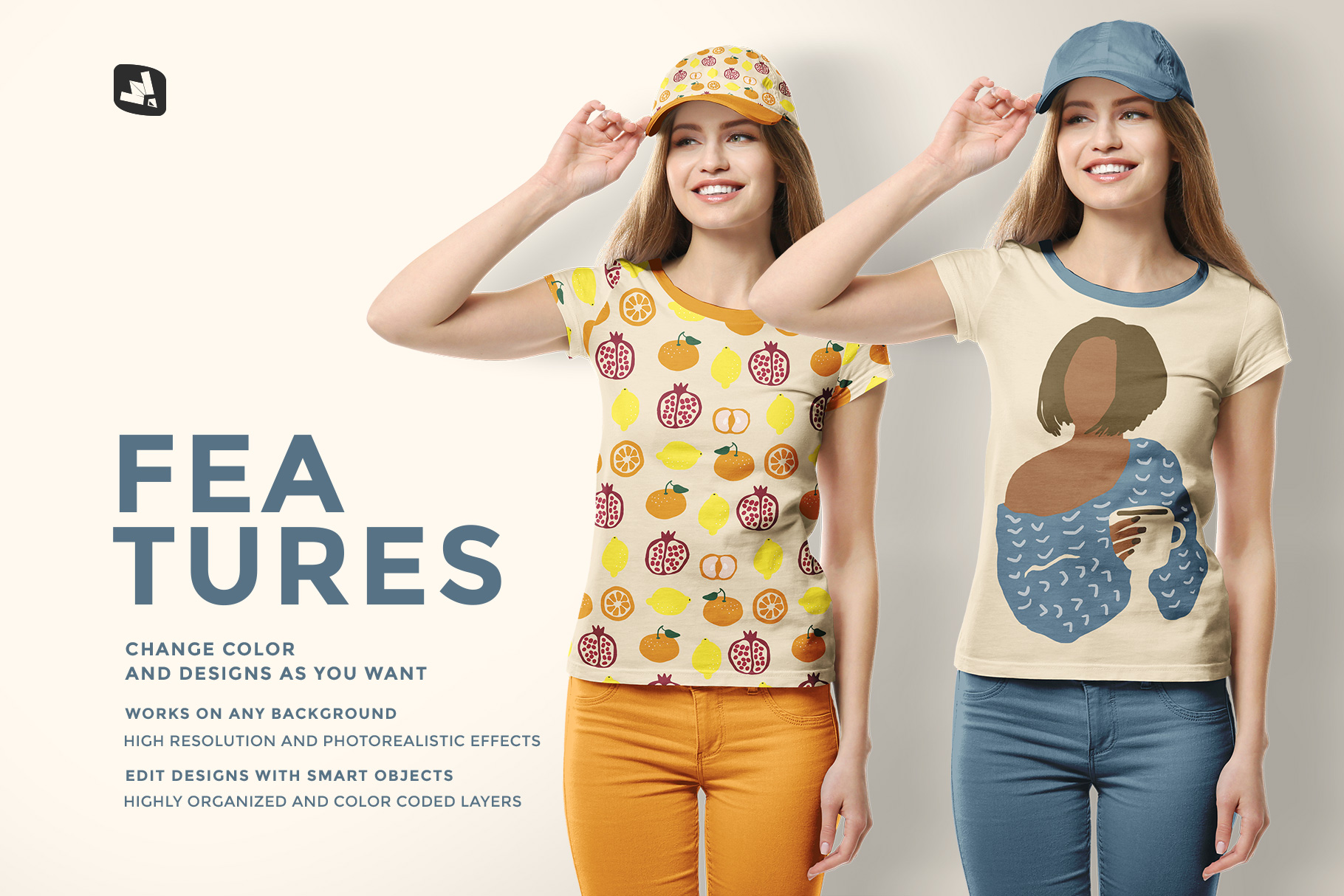 features of the women's tshirt with cap mockup